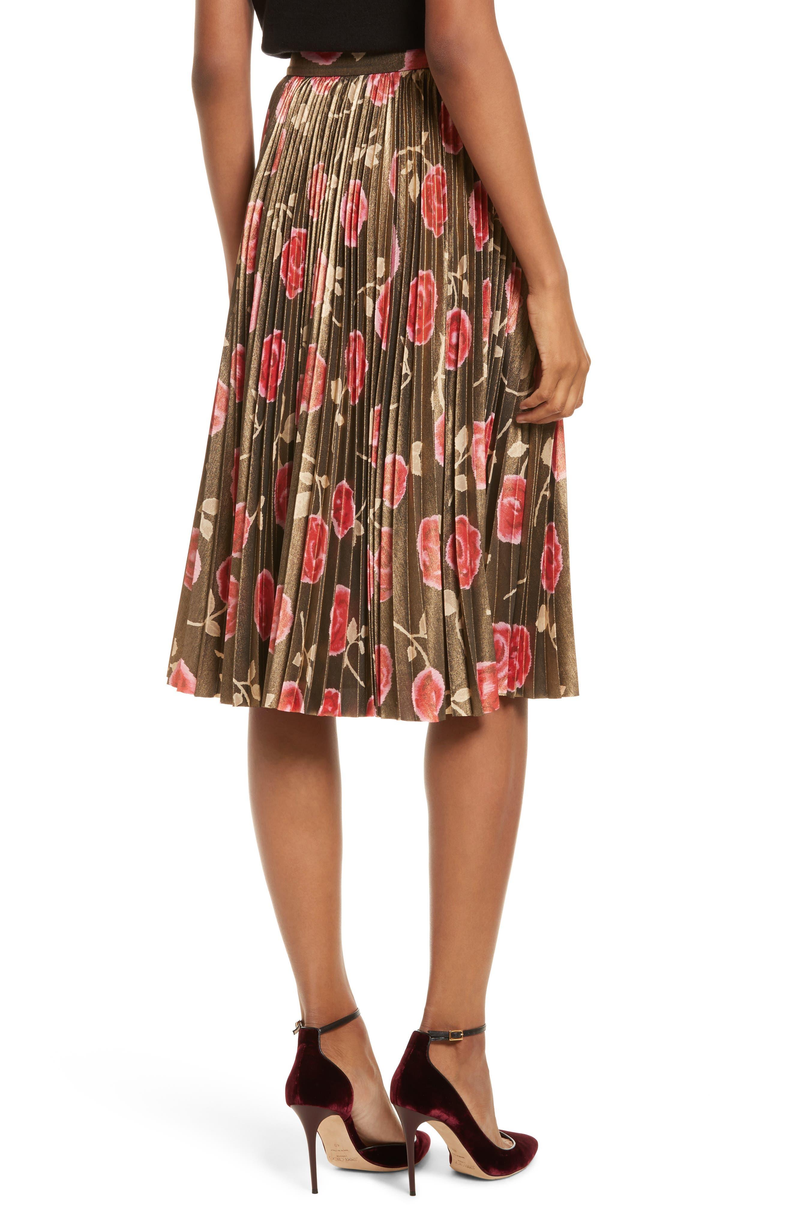 hazy rose pleated metallic skirt,                             Alternate thumbnail 2, color,                             006