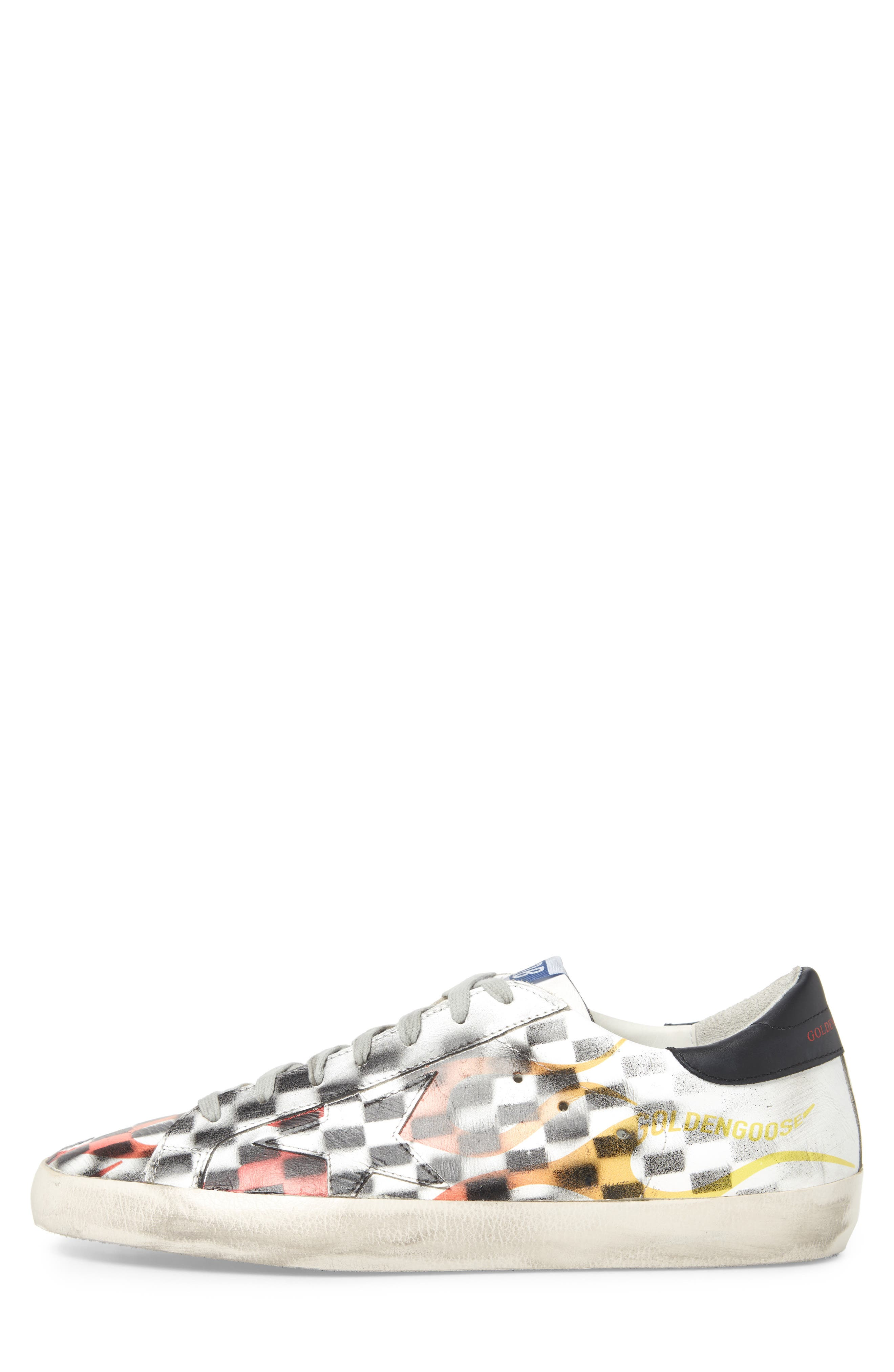 Superstar Low Top Sneaker,                             Alternate thumbnail 3, color,                             WHITE FLAME DAMA