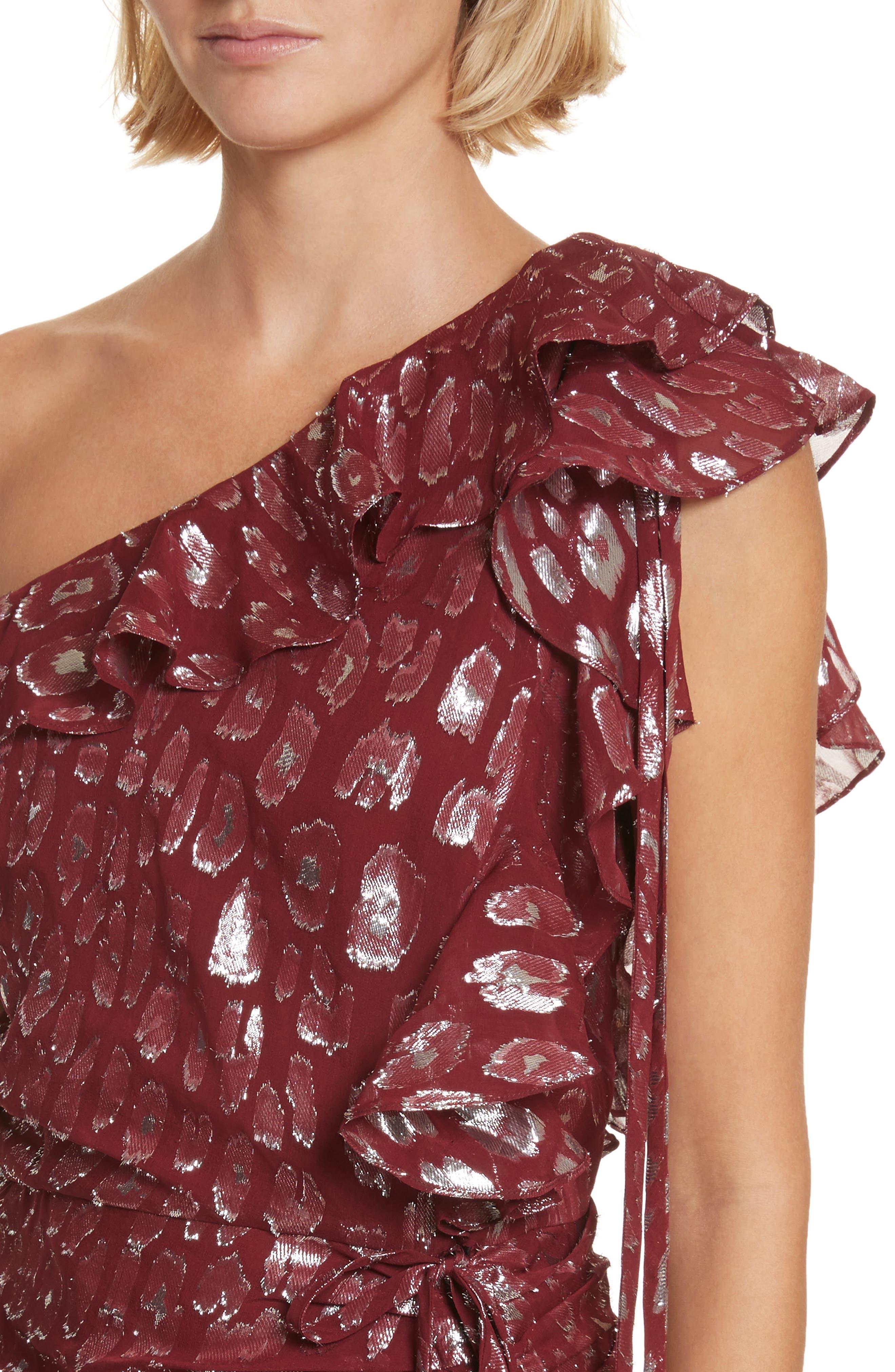 Leighton Fil Coupé One-Shoulder Dress,                             Alternate thumbnail 4, color,                             641