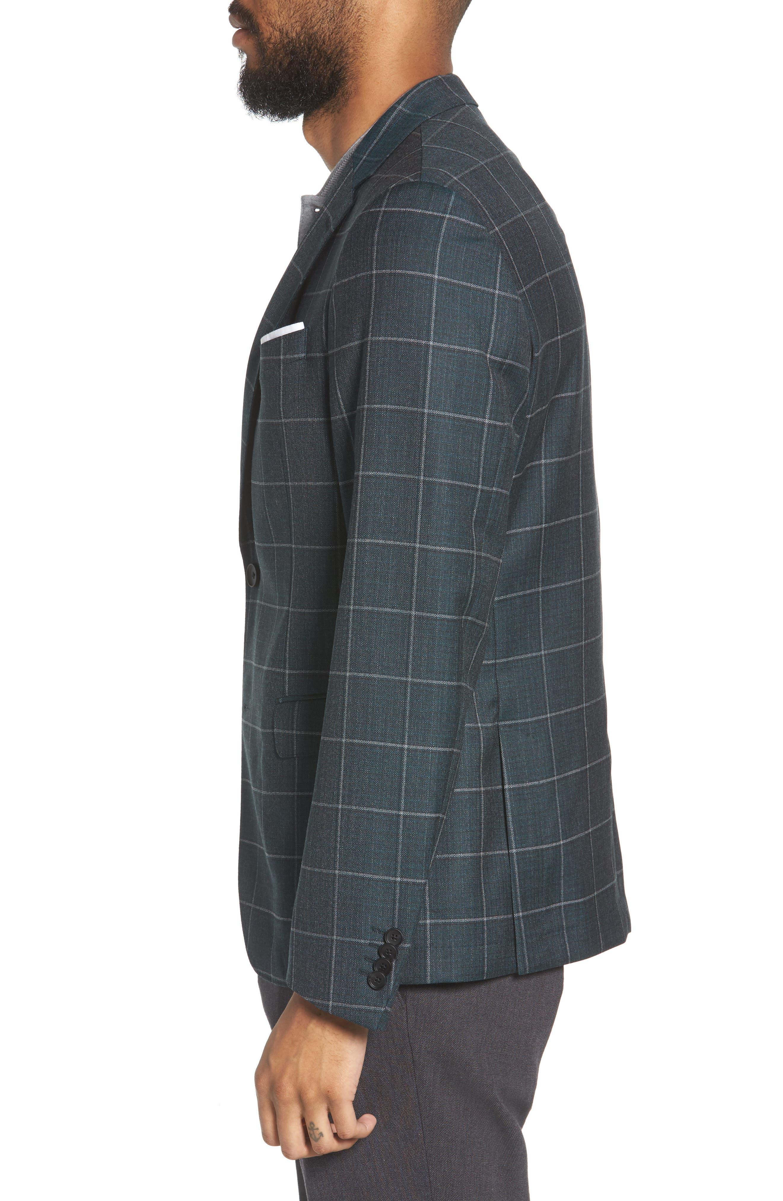 Nobis Trim Fit Windowpane Wool Sport Coat,                             Alternate thumbnail 3, color,                             MEDIUM GREEN