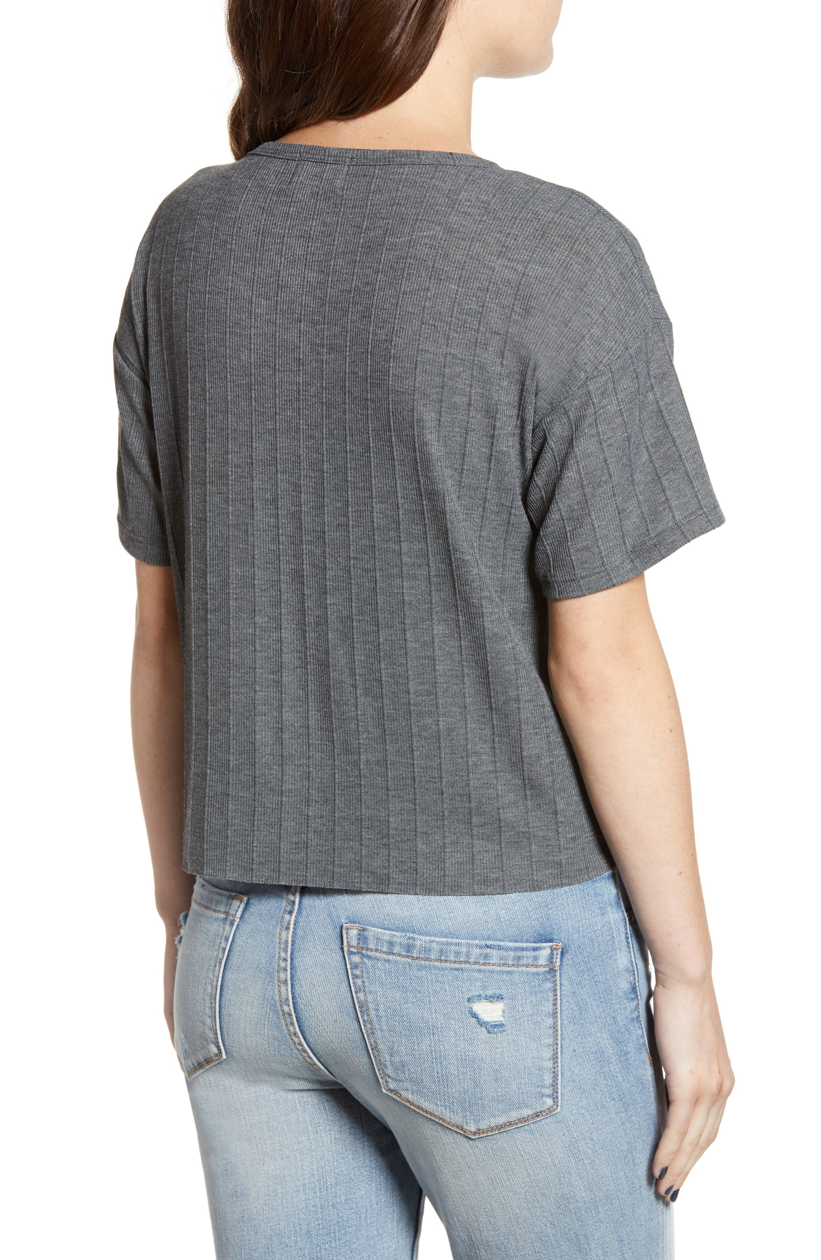 Variegated Rib Knit Tee,                             Alternate thumbnail 2, color,                             CHARCOAL