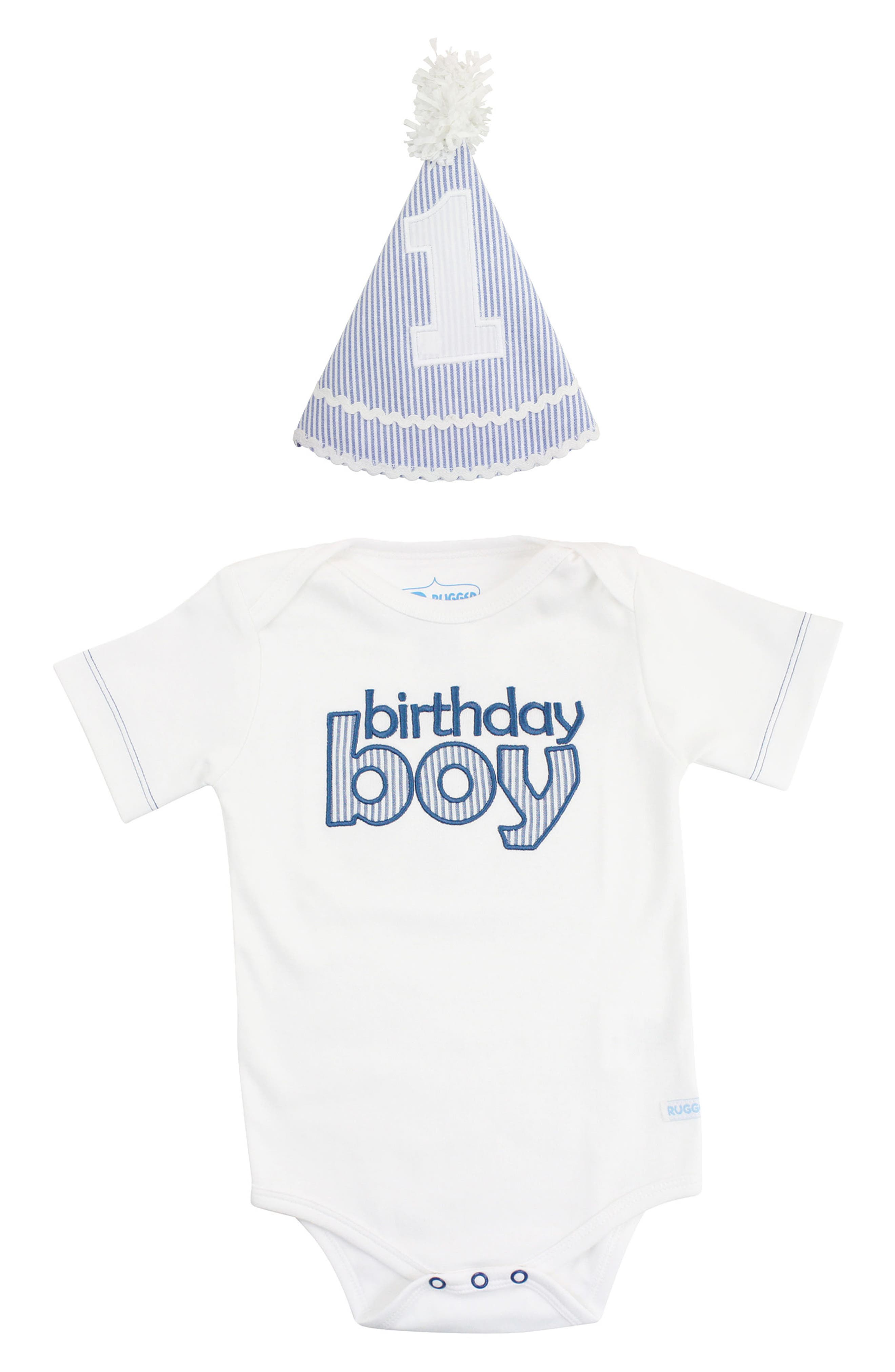 Birthday Boy Party Hat & Bodysuit,                         Main,                         color, BLUE