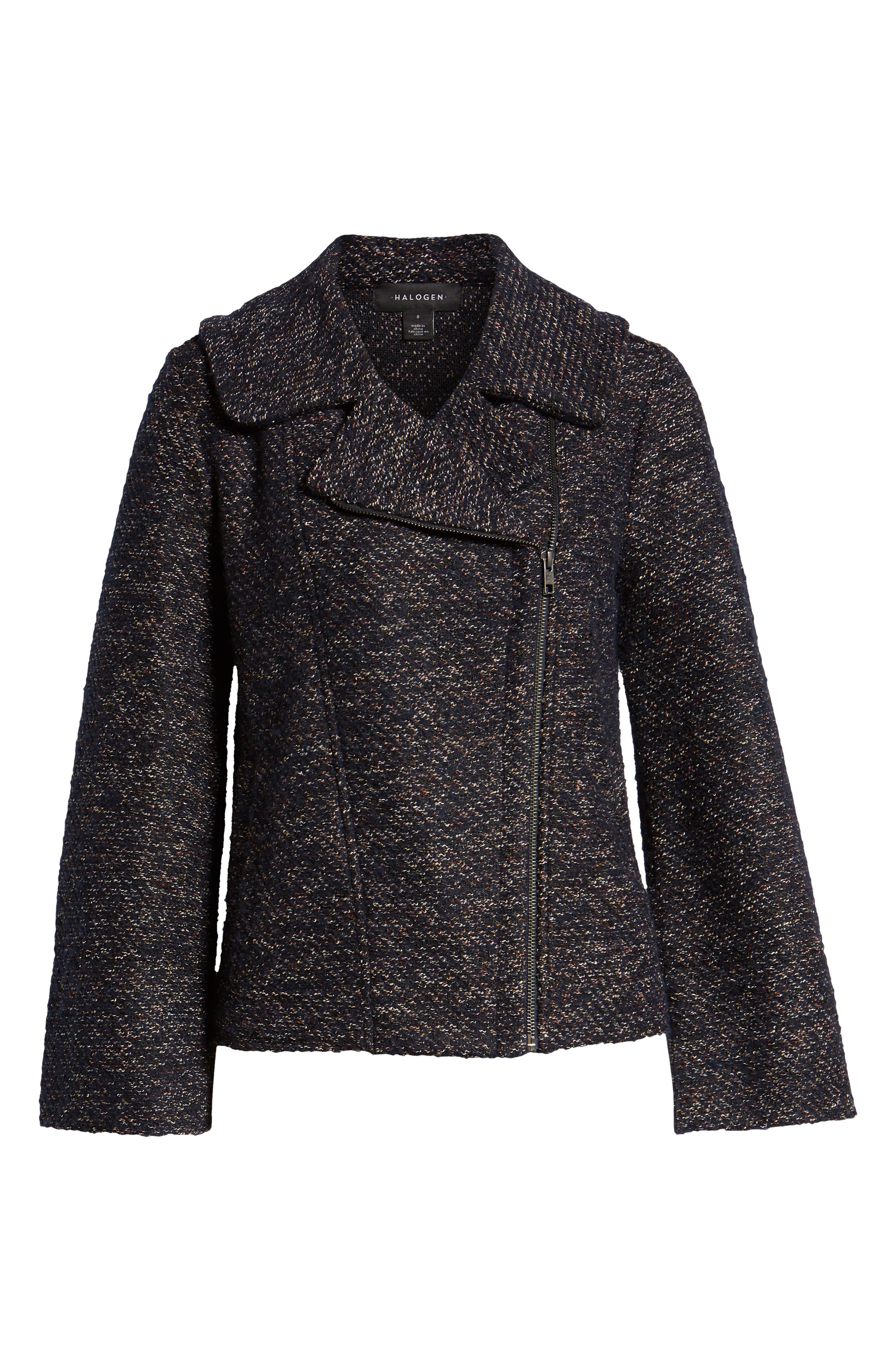 Tweed Moto Jacket,                             Alternate thumbnail 6, color,                             NAVY SPECKLE
