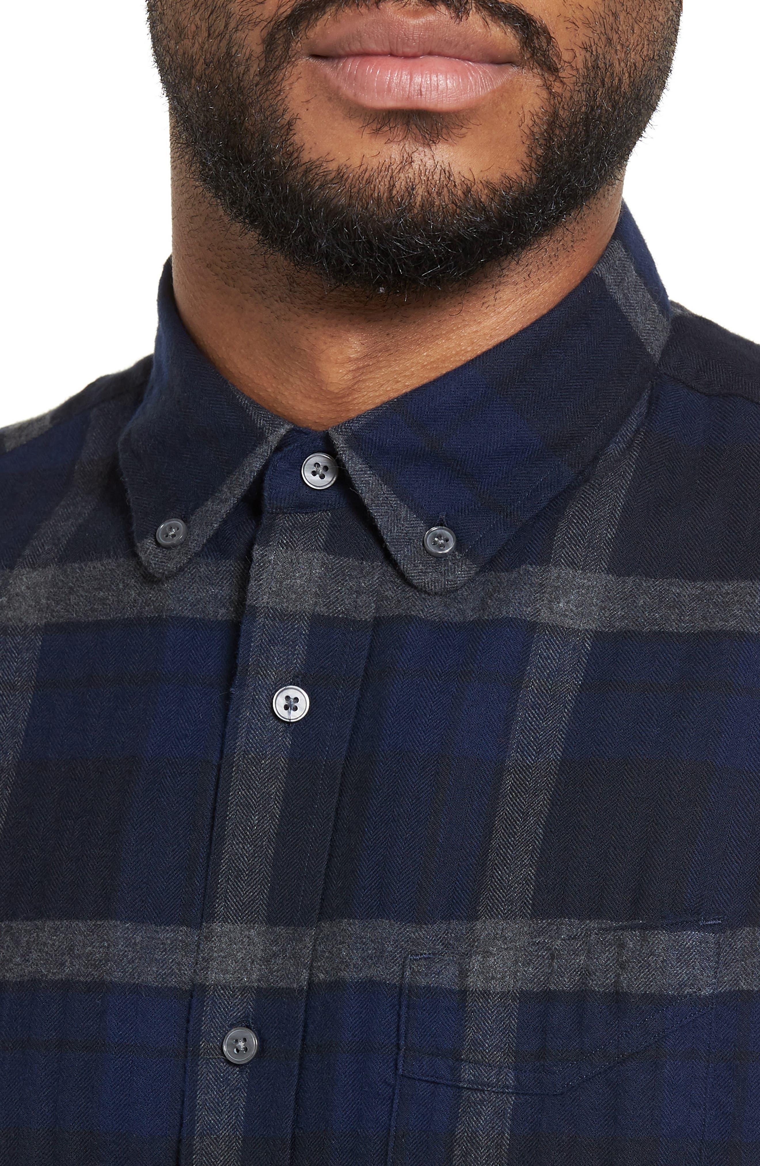 Trim Fit Plaid Flannel Sport Shirt,                             Alternate thumbnail 4, color,                             473