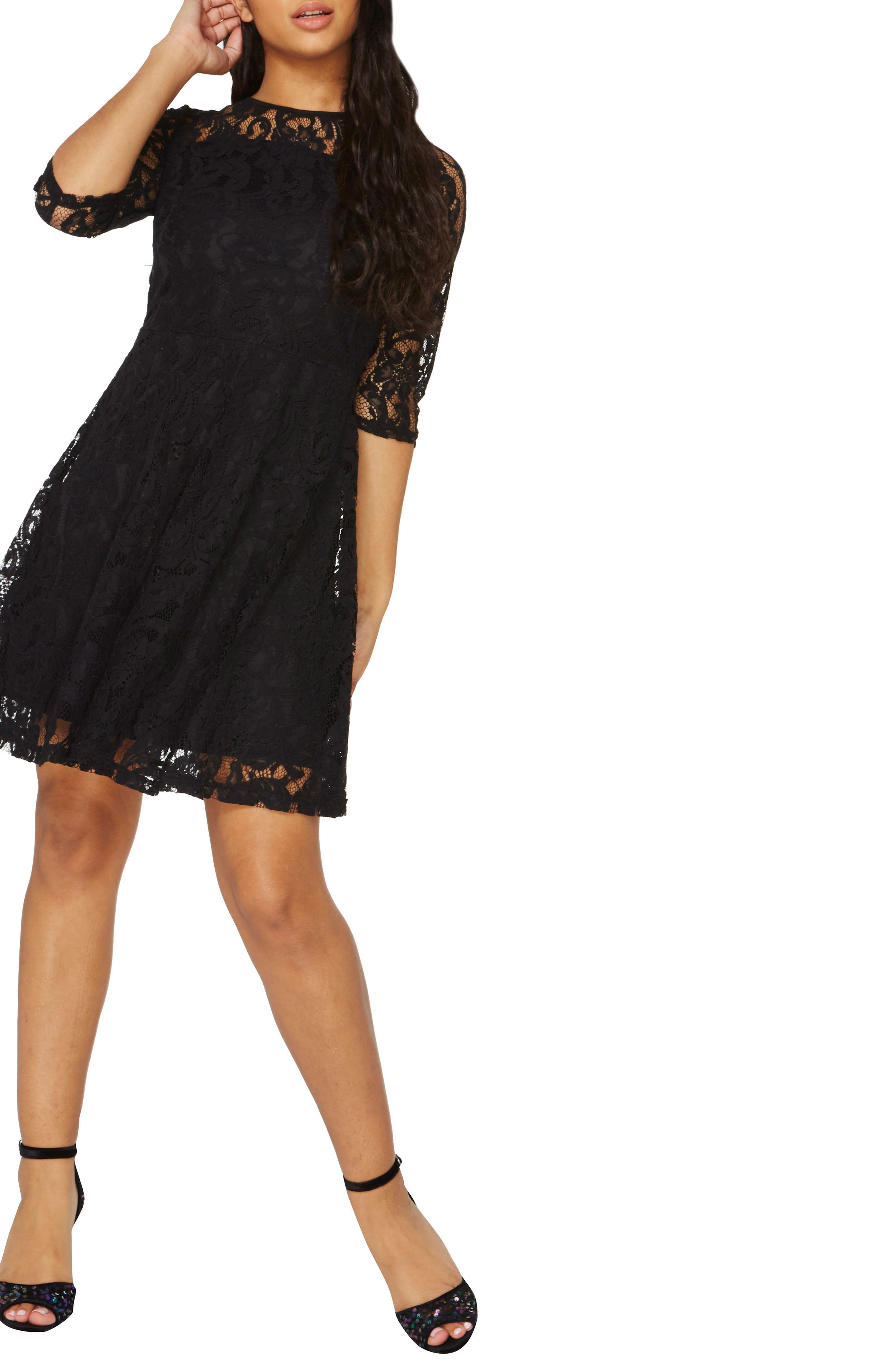 Lace Fit & Flare Dress,                             Alternate thumbnail 8, color,                             001