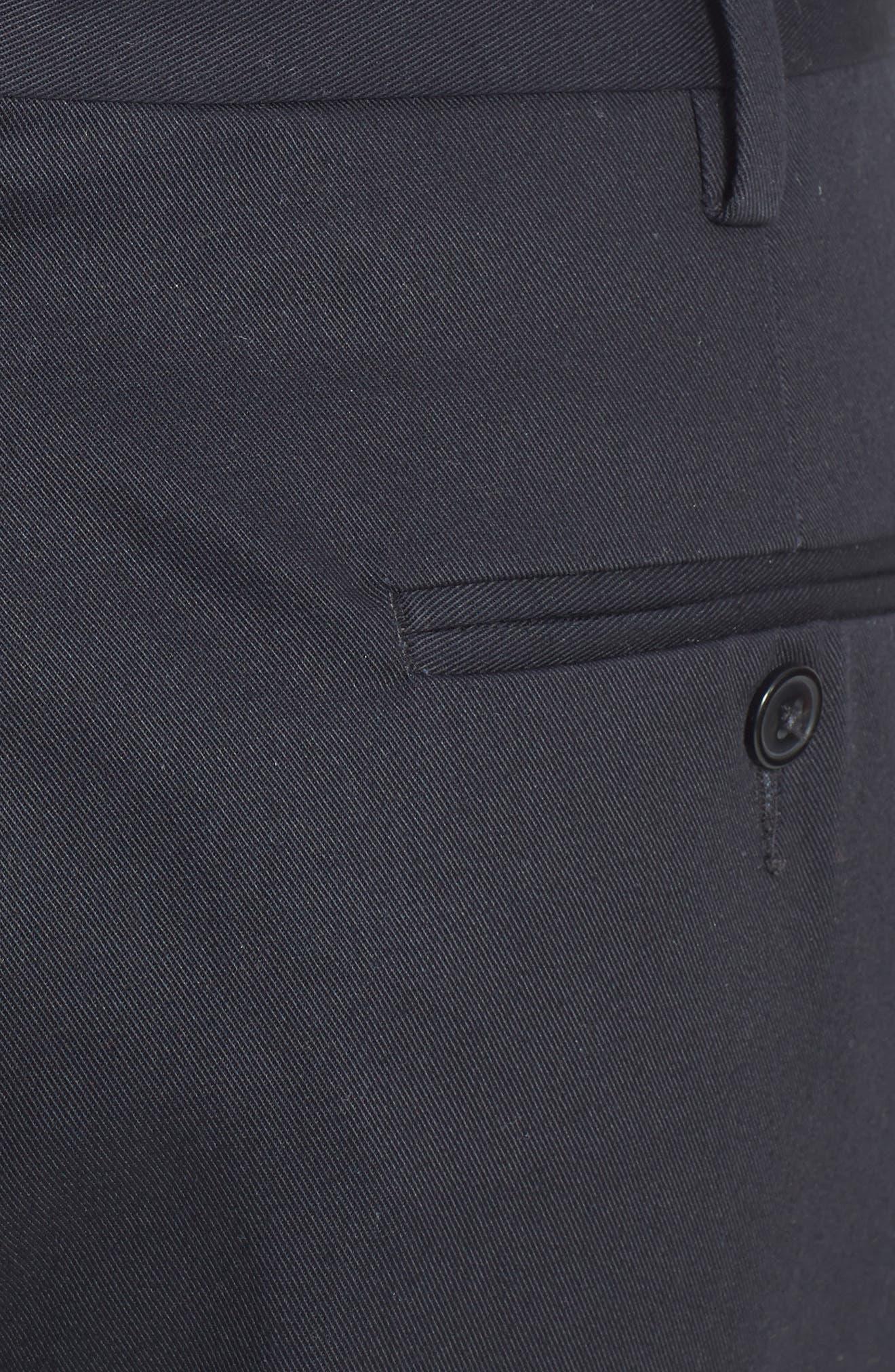 Pleated Cotton Trousers,                             Alternate thumbnail 4, color,                             BLACK