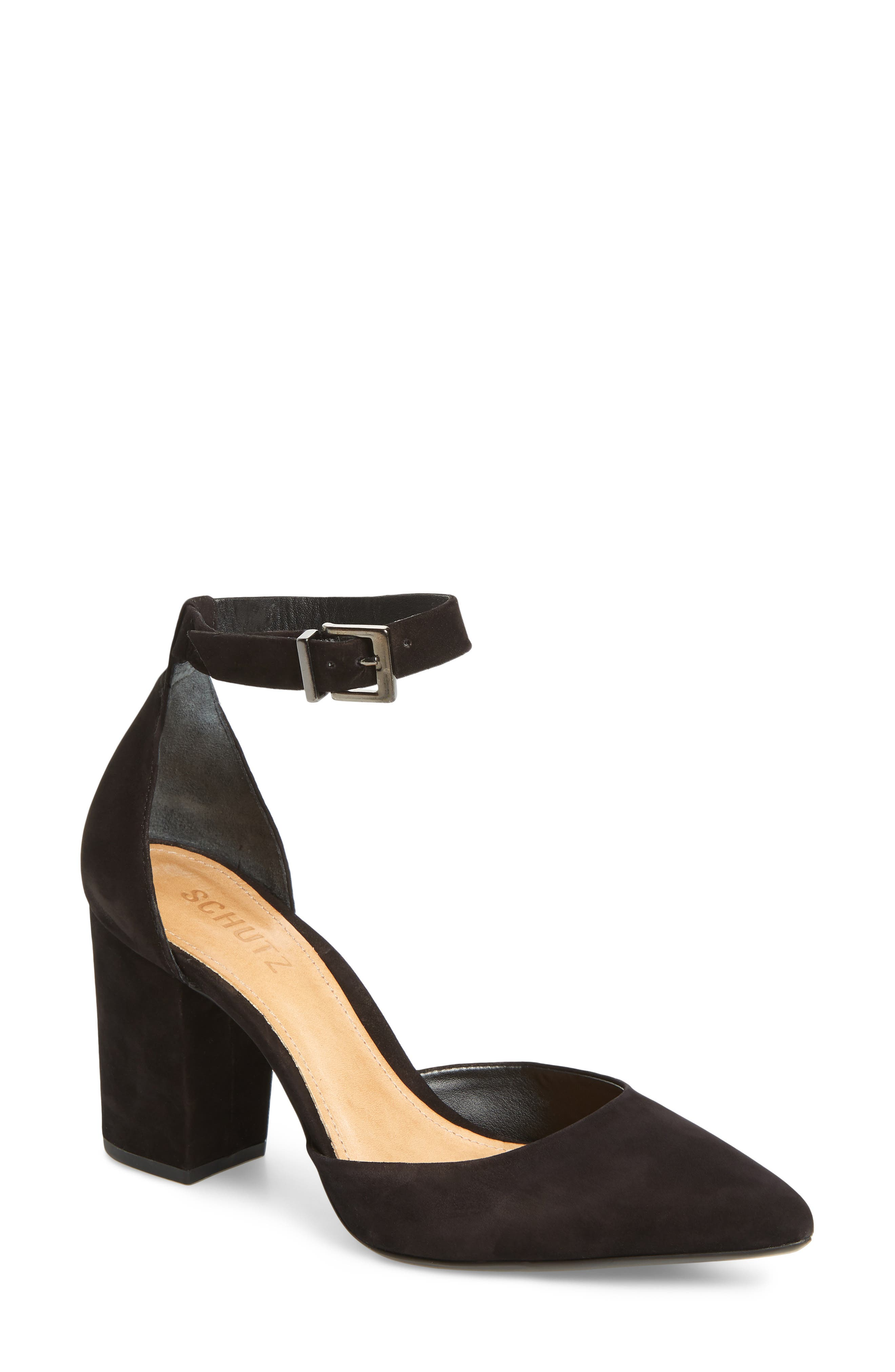Ionara Ankle Strap Pump,                         Main,                         color, BLACK NUBUCK LEATHER
