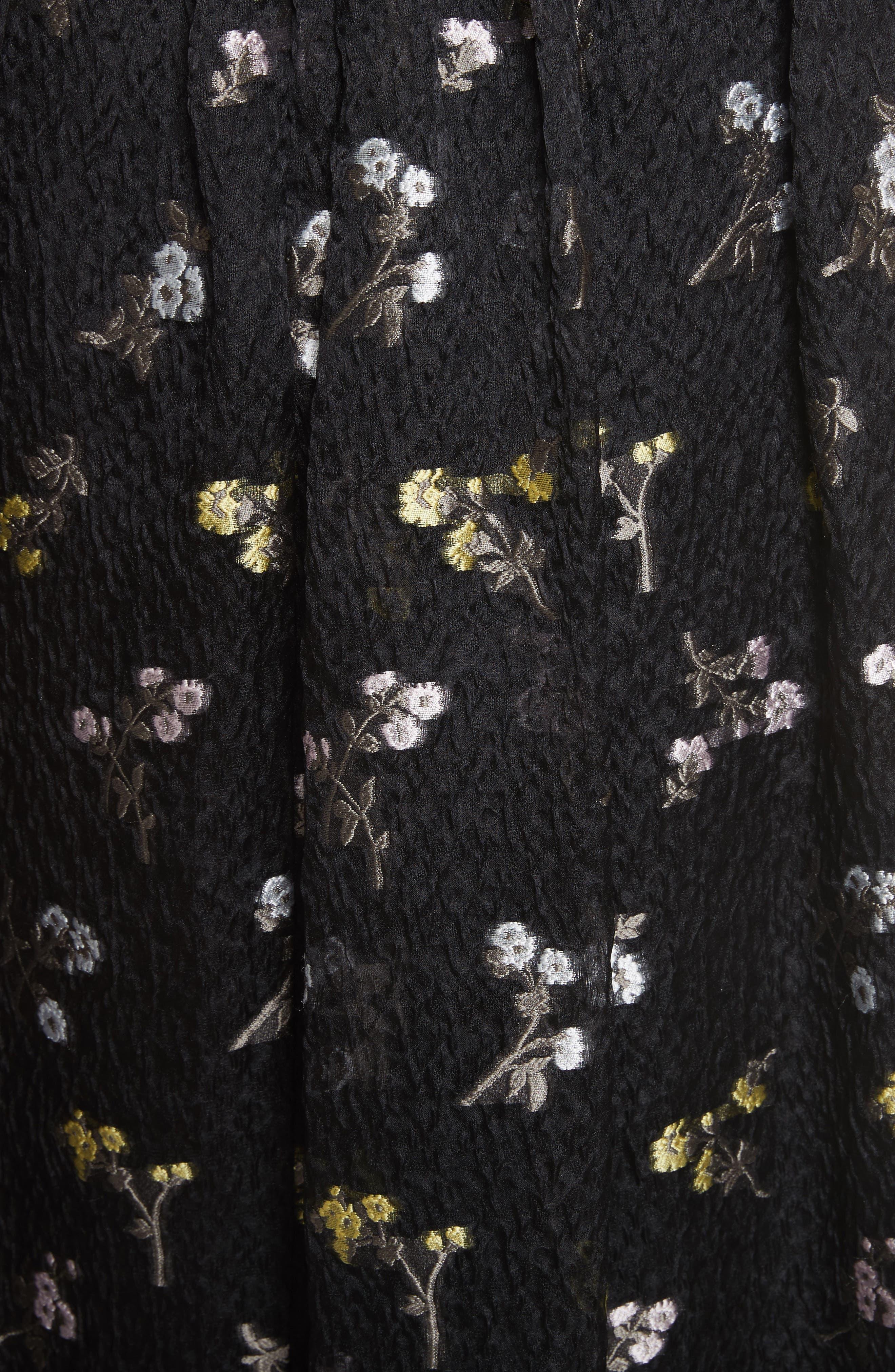 Floral Fil Coupé Organza Cloque Maxi Skirt,                             Alternate thumbnail 5, color,                             001