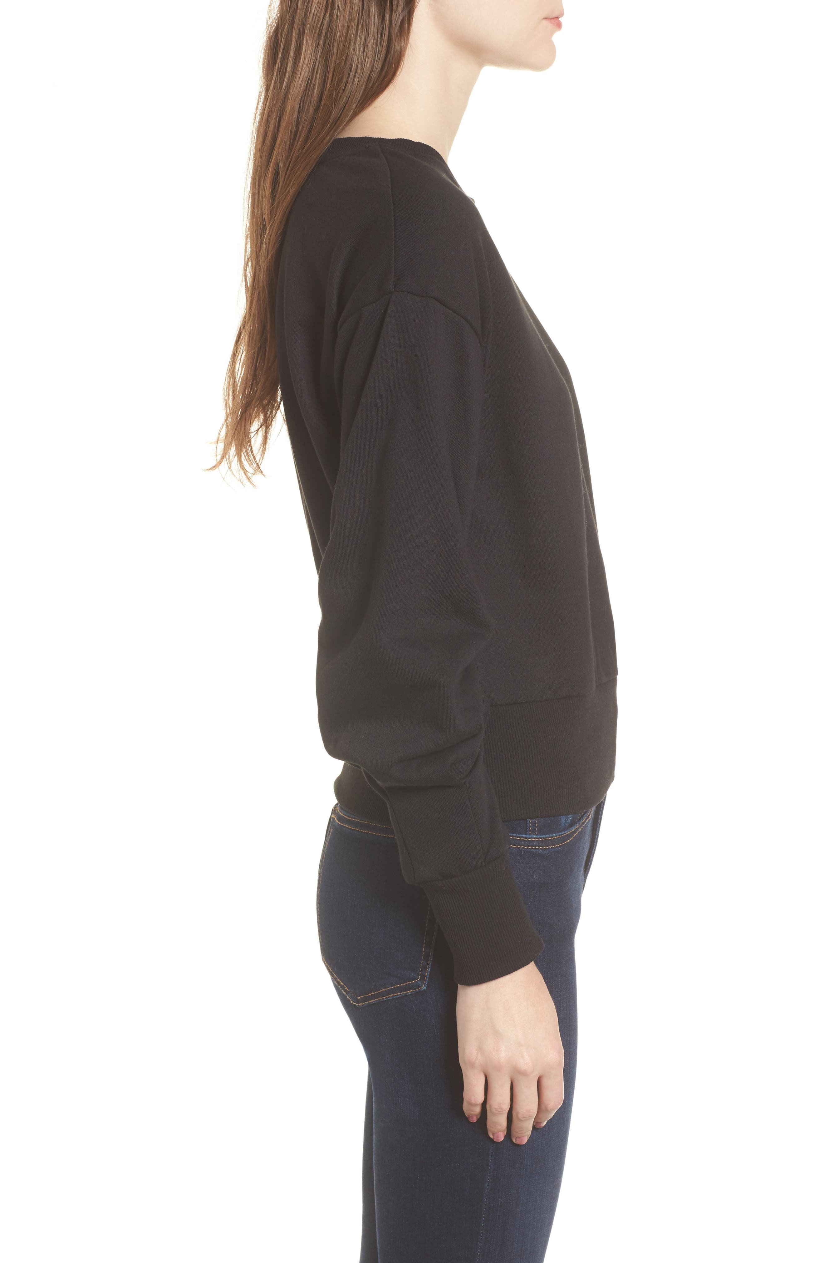 Ruched Sleeve Sweatshirt,                             Alternate thumbnail 3, color,                             001