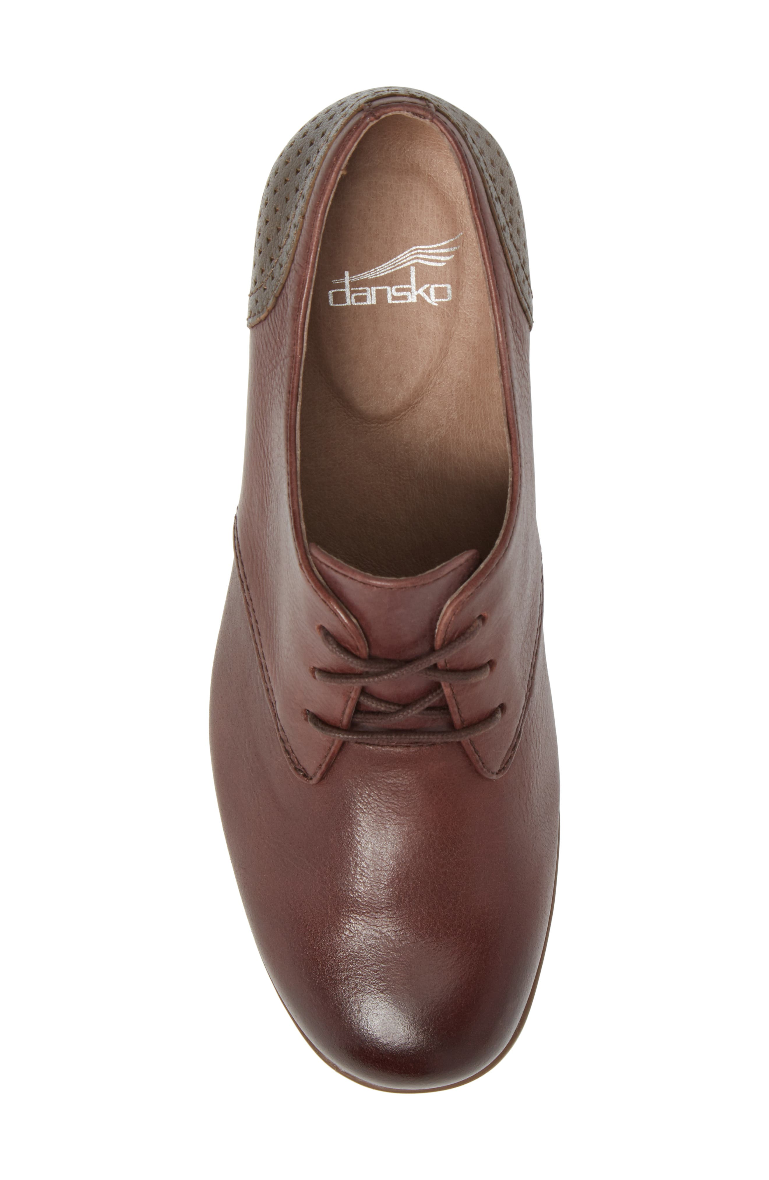 'Louise' Round Toe Derby,                             Alternate thumbnail 5, color,                             WINE BURNISHED LEATHER