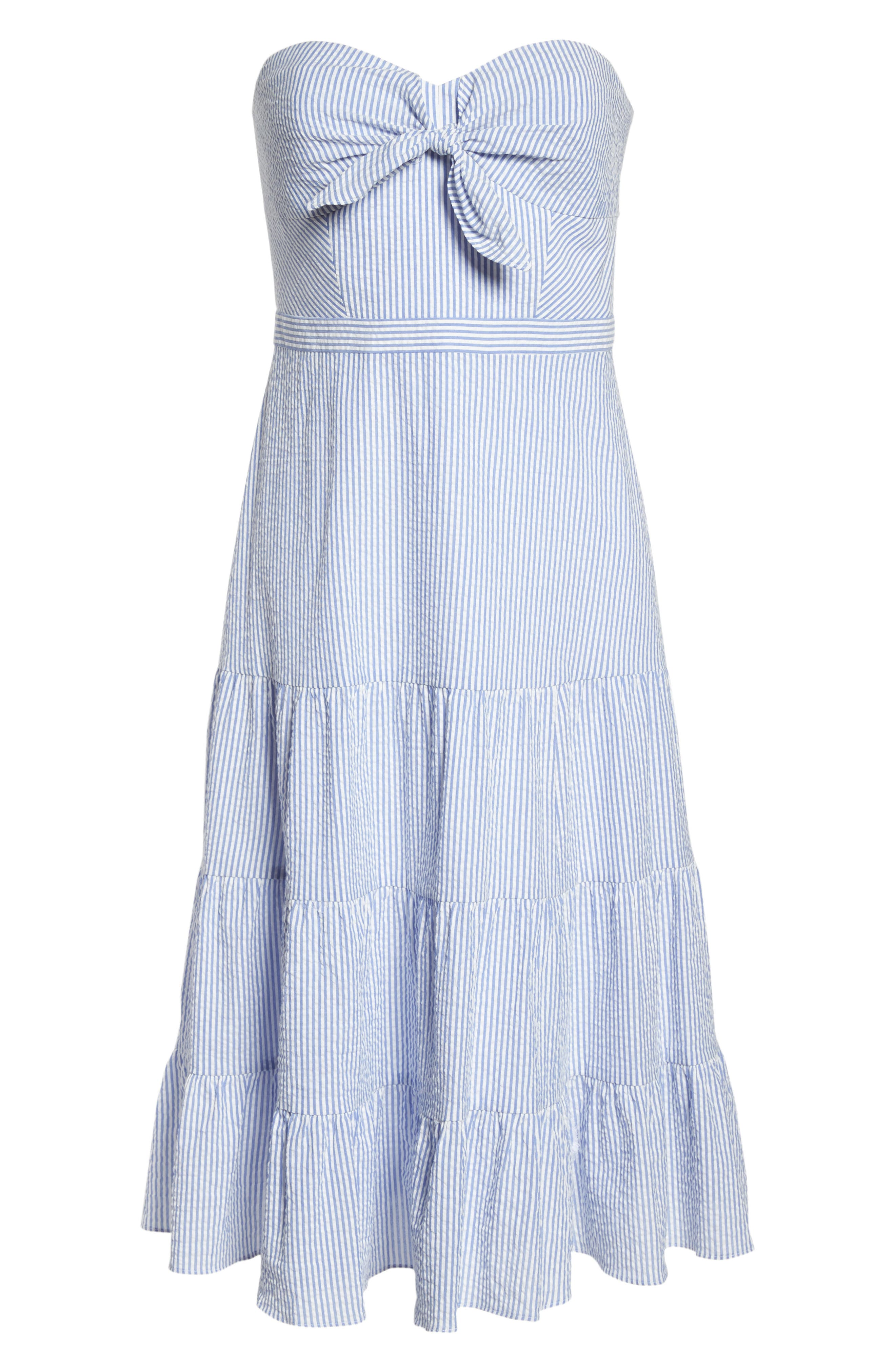Tie Front Strapless Dress,                             Alternate thumbnail 7, color,                             401