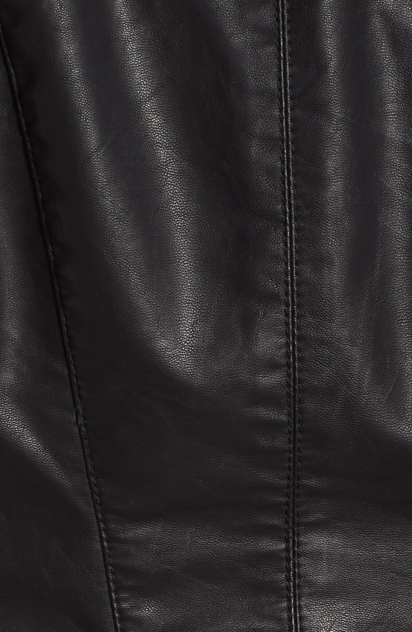 Faux Leather Moto Jacket,                             Alternate thumbnail 8, color,                             BLACK