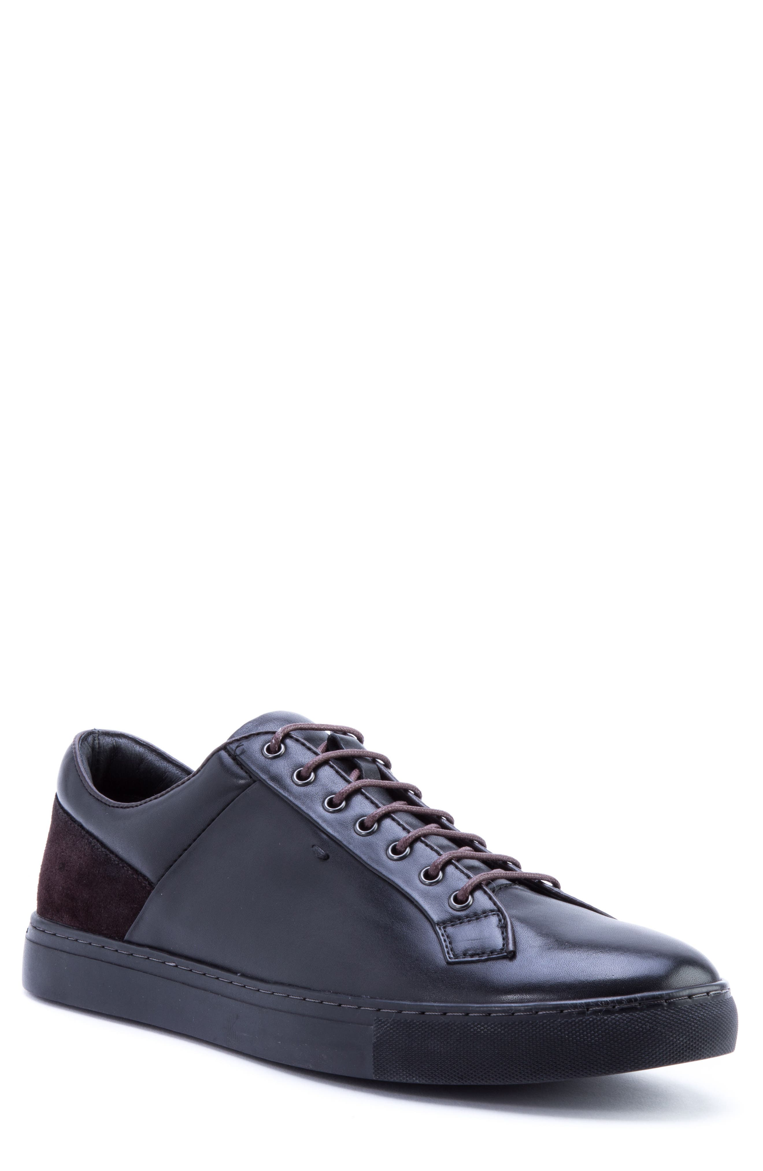 Pitch Low Top Sneaker,                             Main thumbnail 1, color,                             BLACK LEATHER/ SUEDE