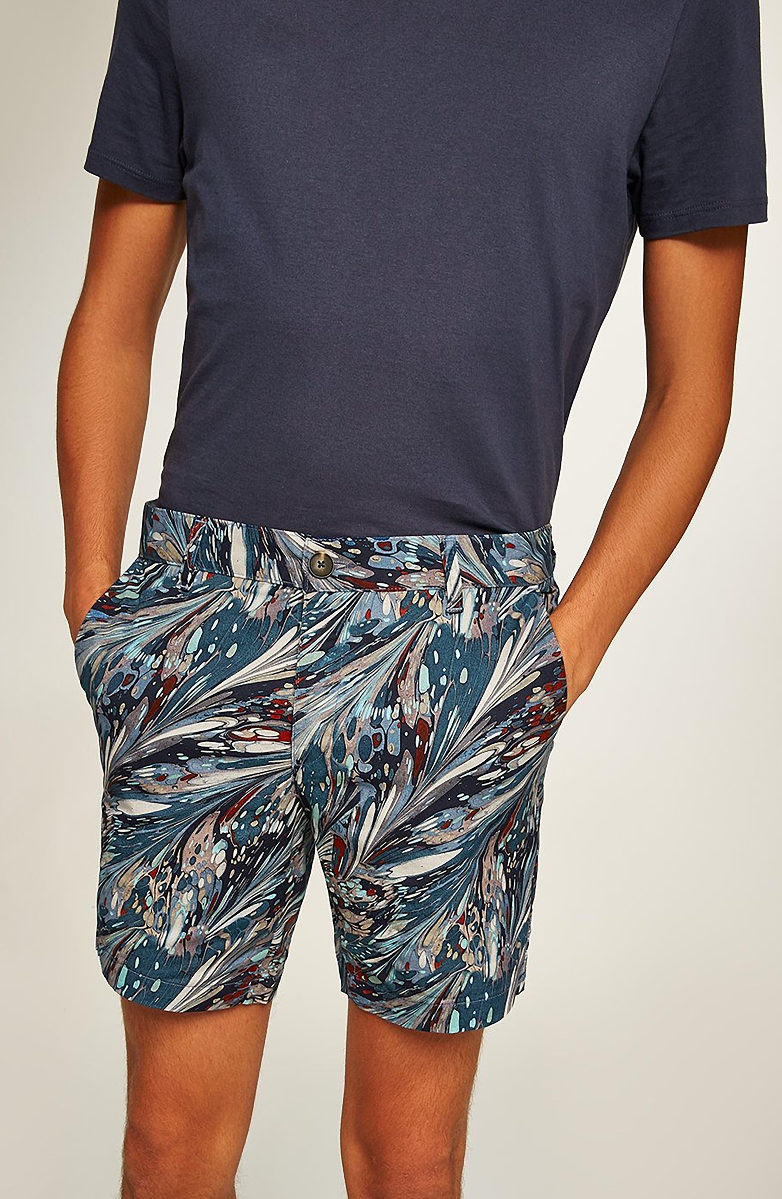Marble Print Shorts,                             Alternate thumbnail 4, color,                             BLUE
