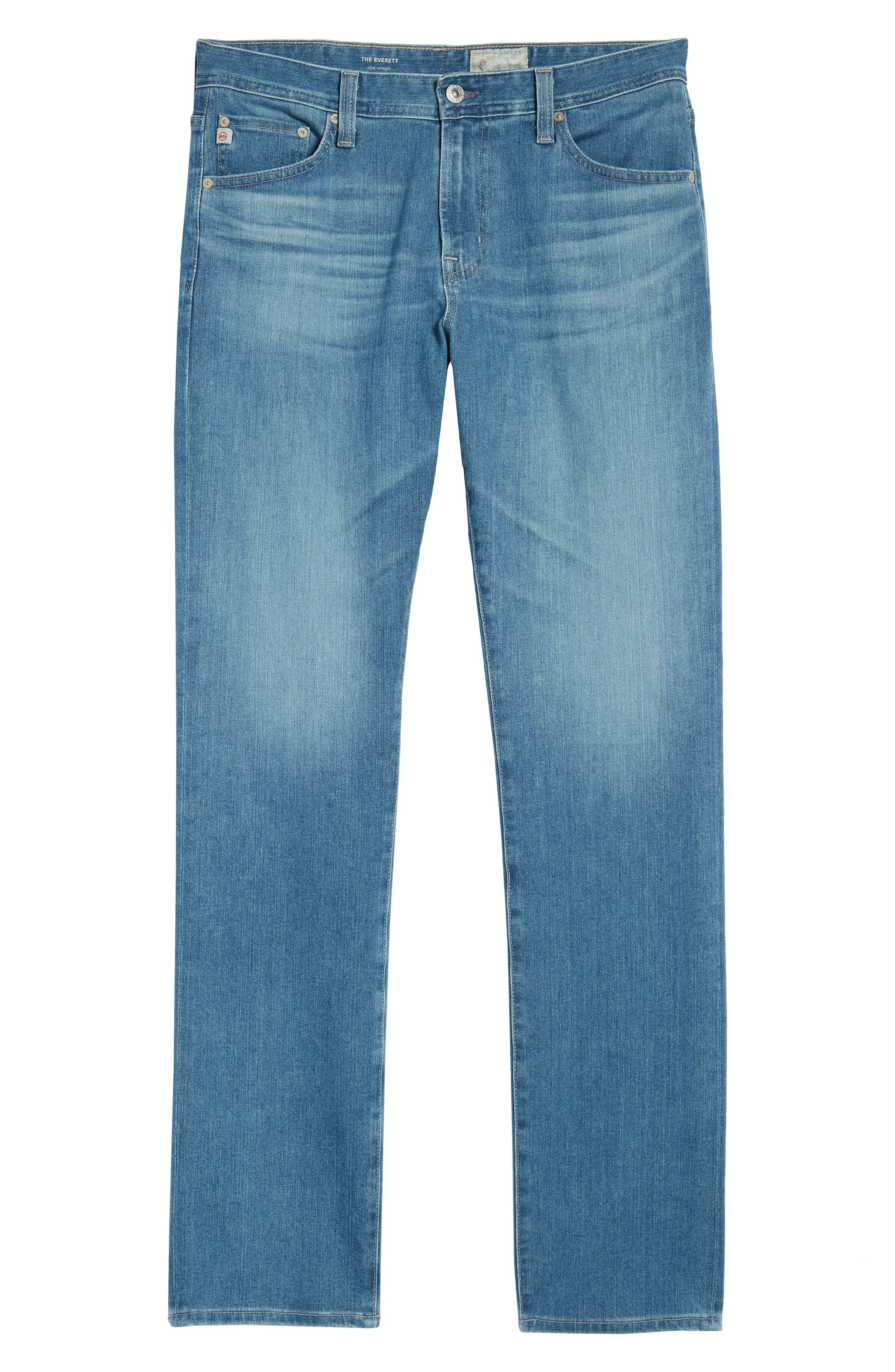 Everett Slim Straight Leg Jeans,                             Alternate thumbnail 6, color,                             SEA WAVE