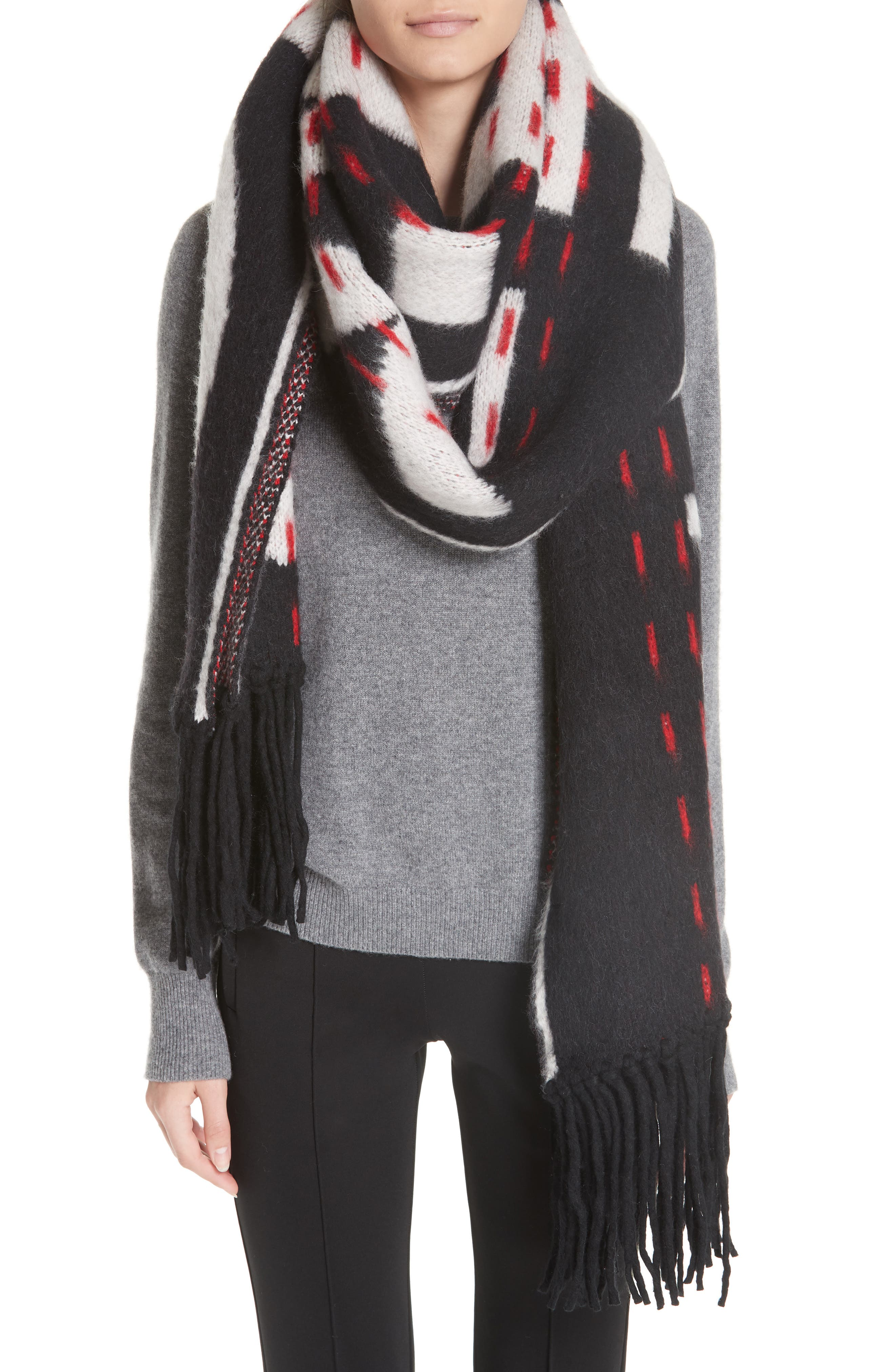 Industrial Scarf,                             Alternate thumbnail 2, color,                             BLACK WHITE