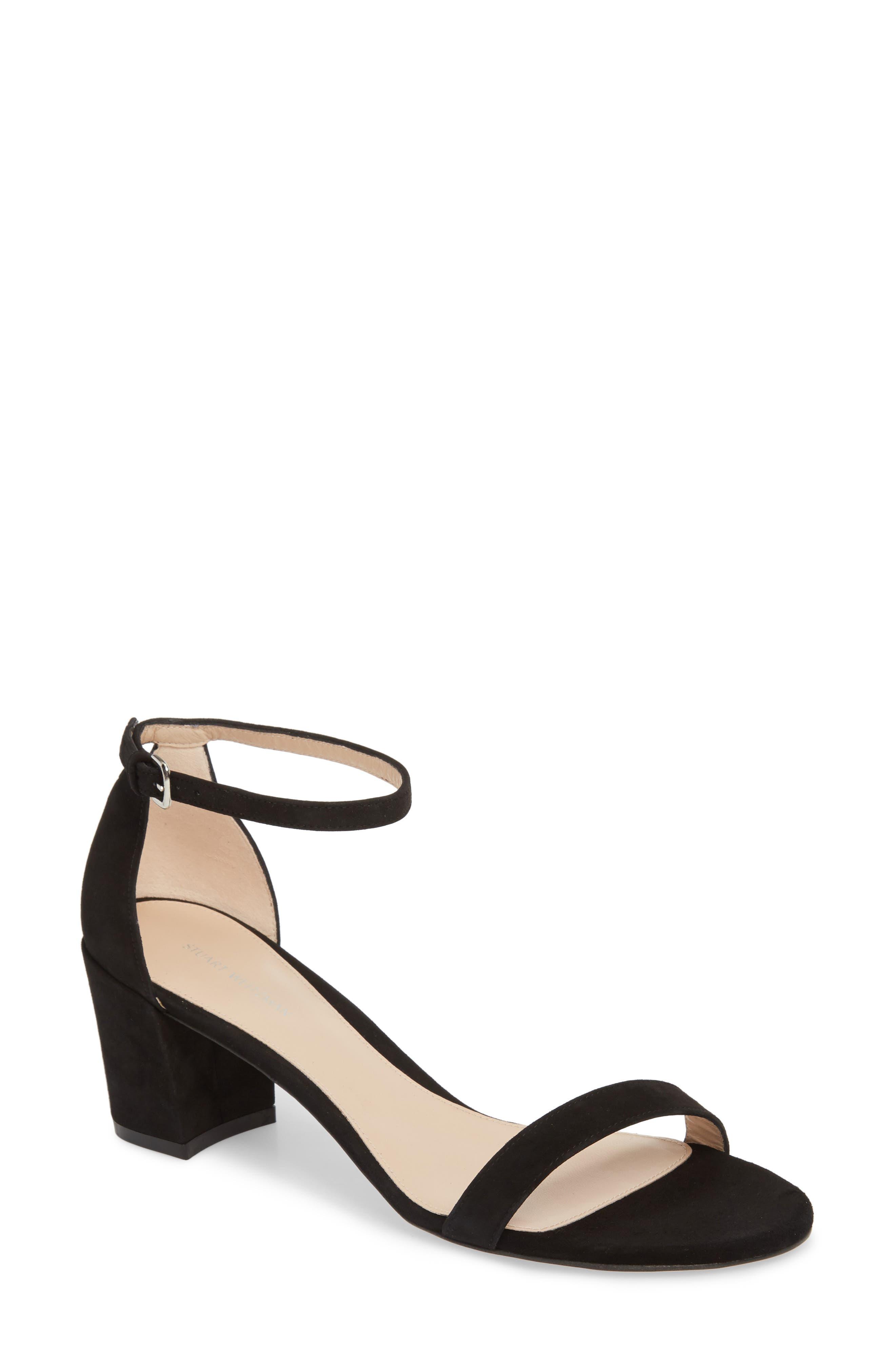 Simple Ankle Strap Sandal,                             Main thumbnail 1, color,                             BLACK SUEDE