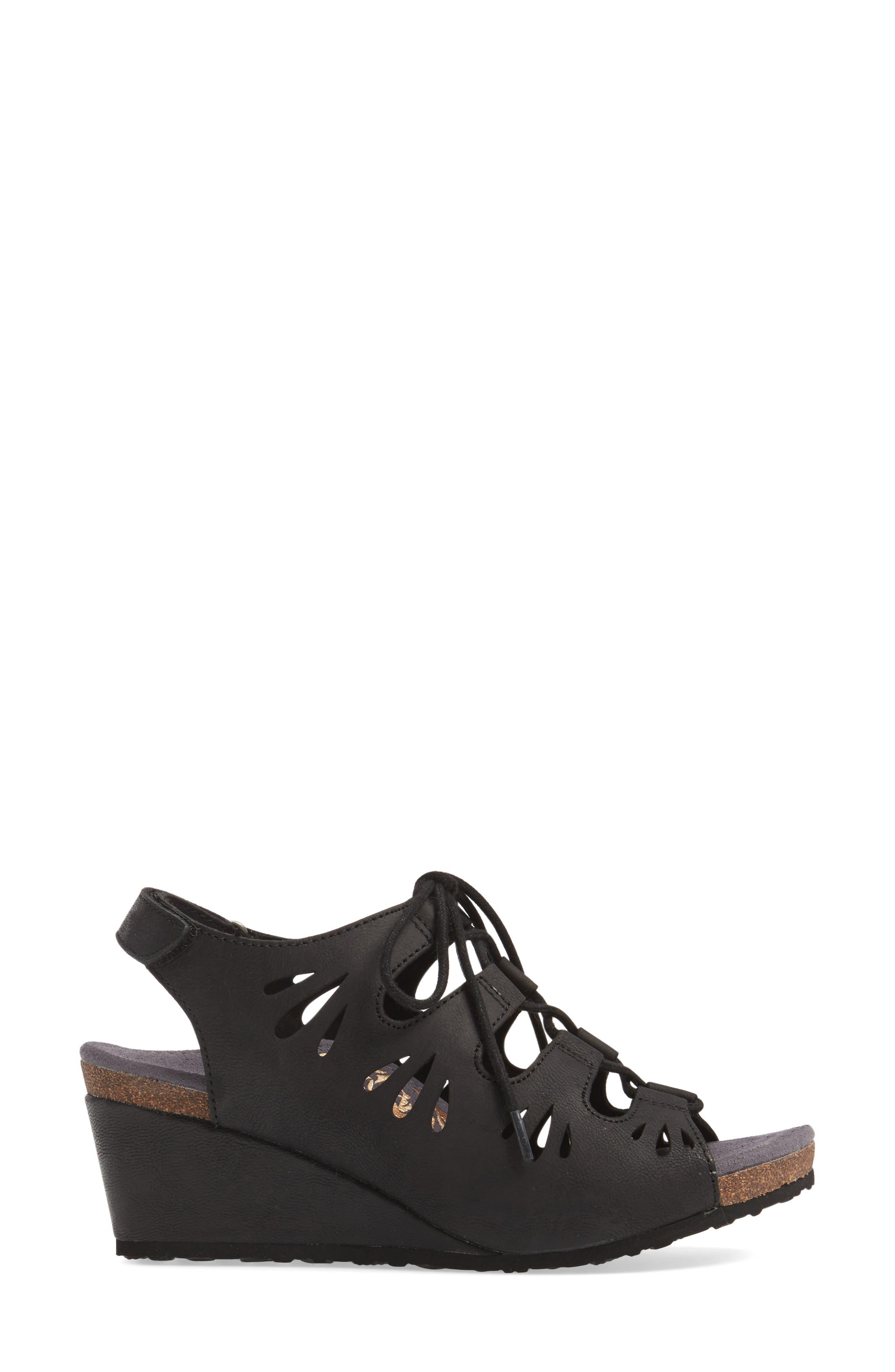 Giselle Slingback Wedge Sandal,                             Alternate thumbnail 3, color,                             001