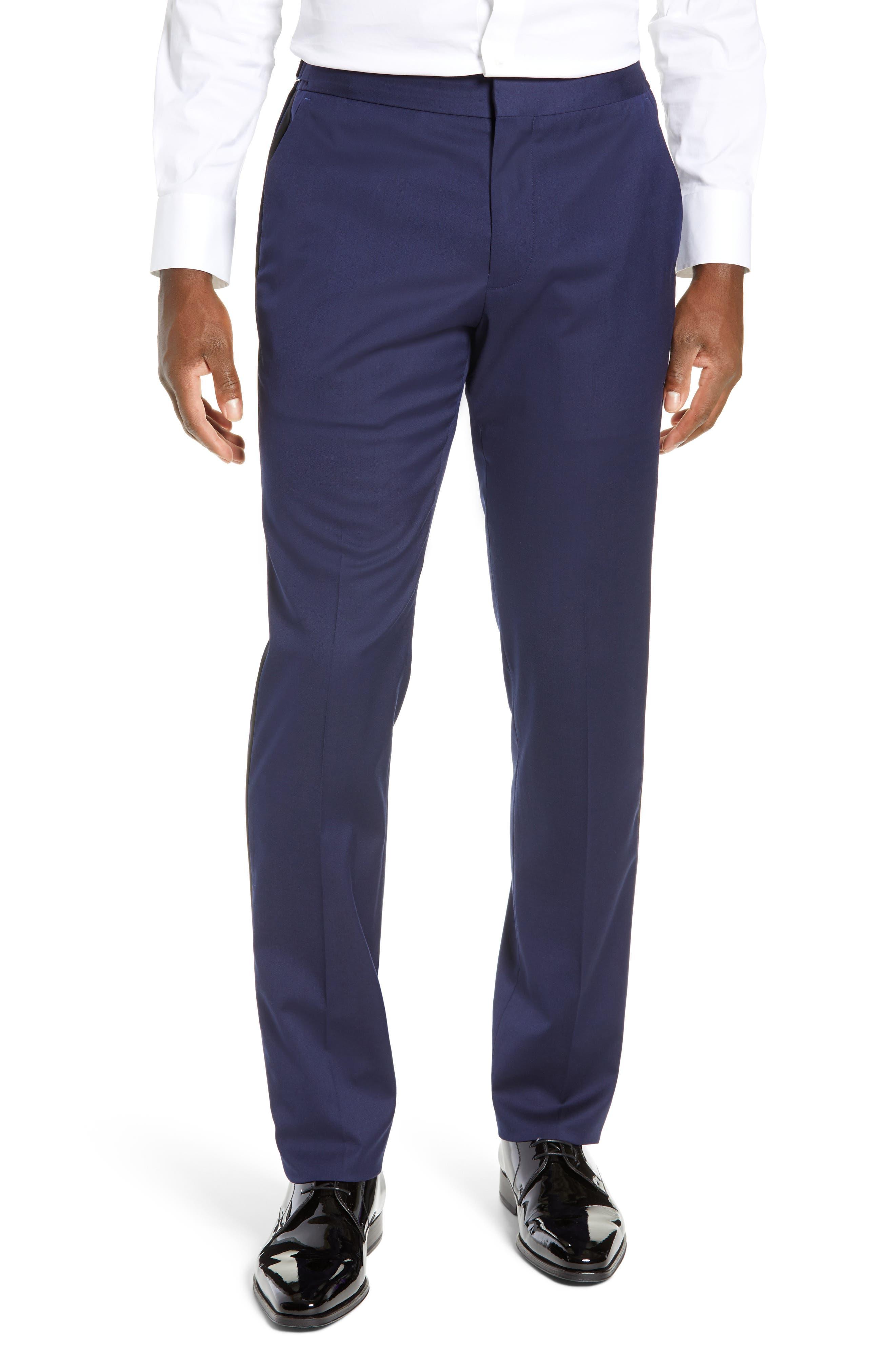 Capstone Slim Fit Tuxedo Trousers,                             Main thumbnail 1, color,                             NAVY