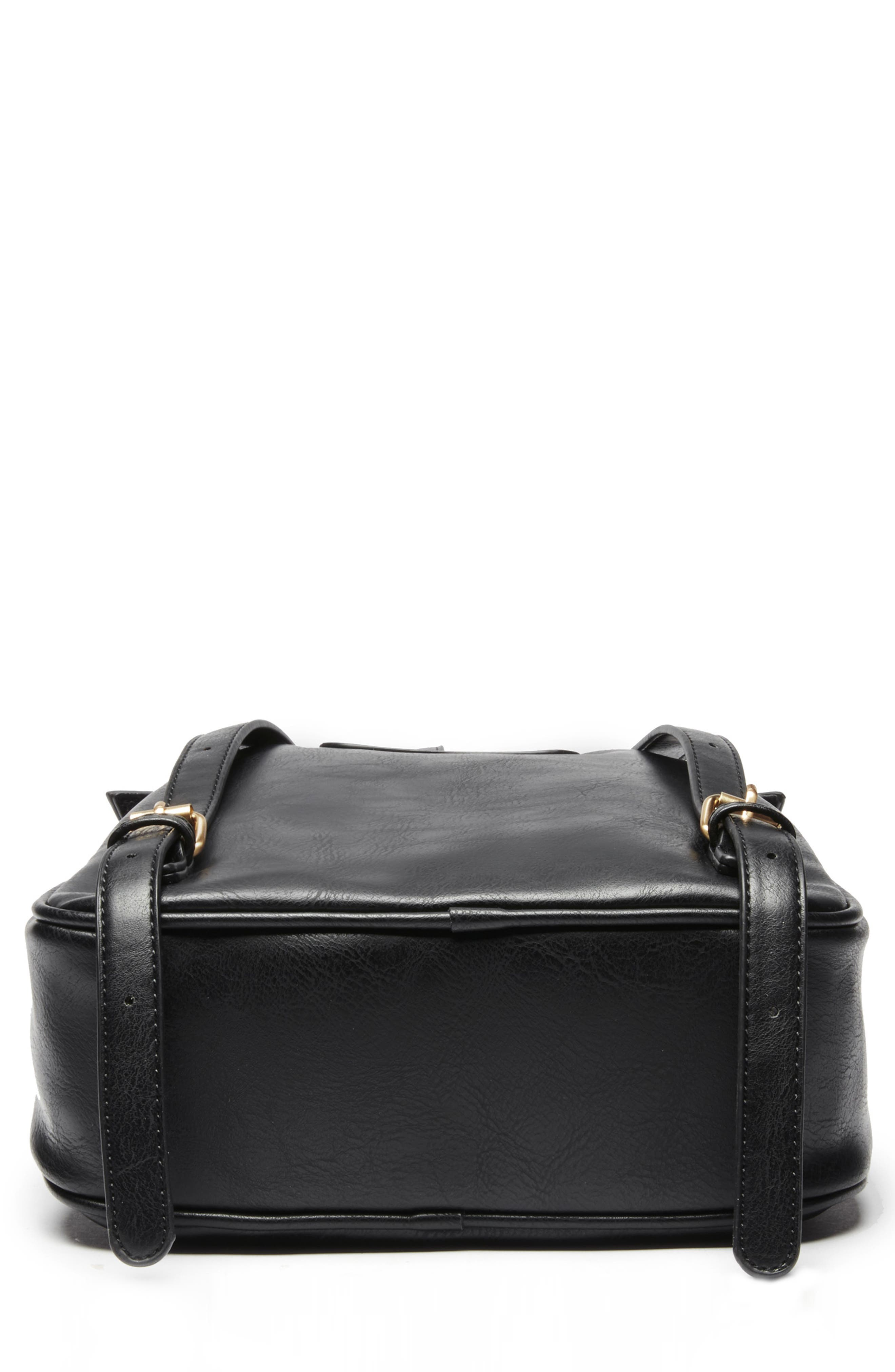 Zypa Faux Leather Backpack,                             Alternate thumbnail 6, color,                             BLACK