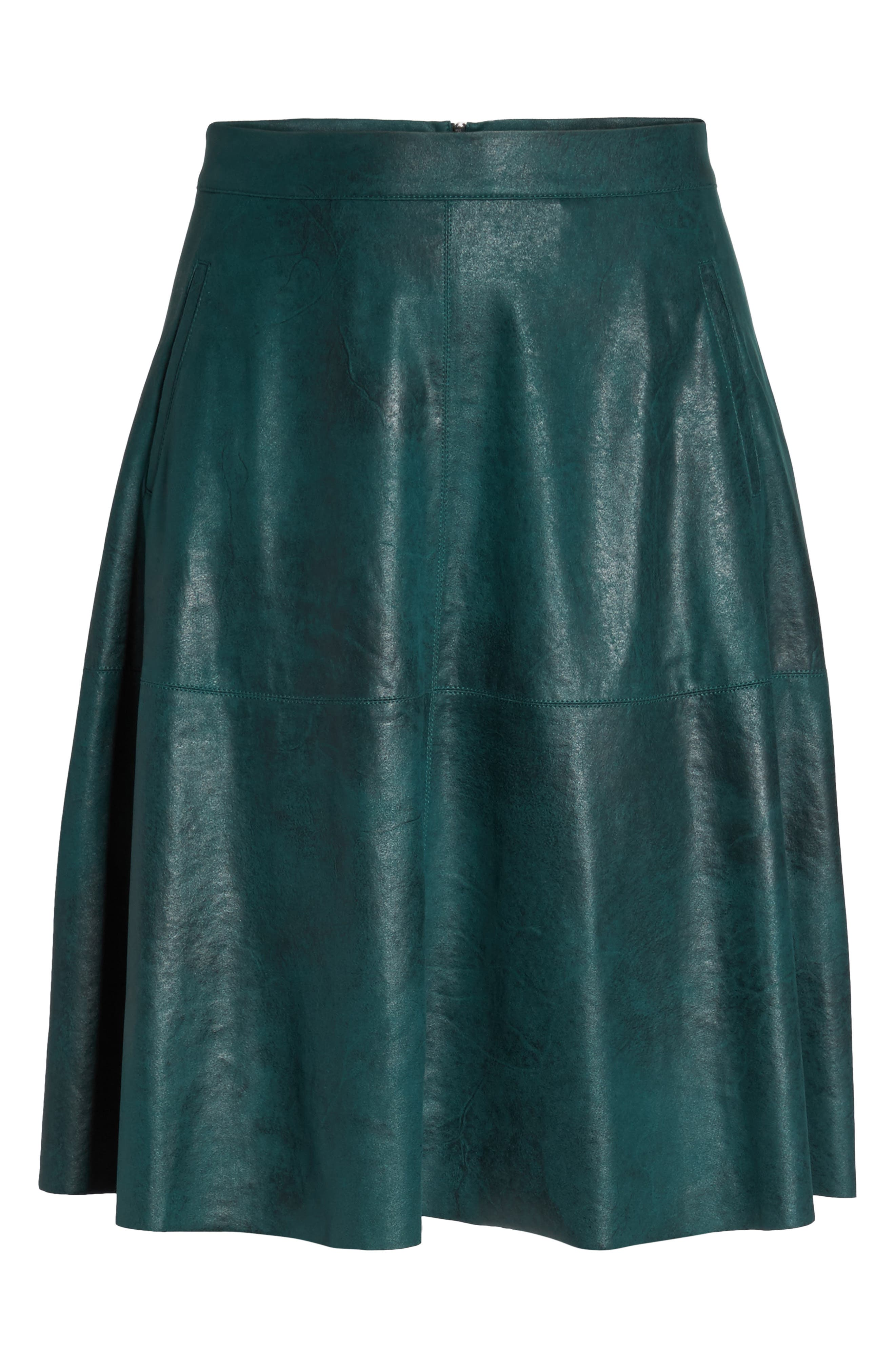 Stretch Faux Leather A-Line Skirt,                             Alternate thumbnail 10, color,