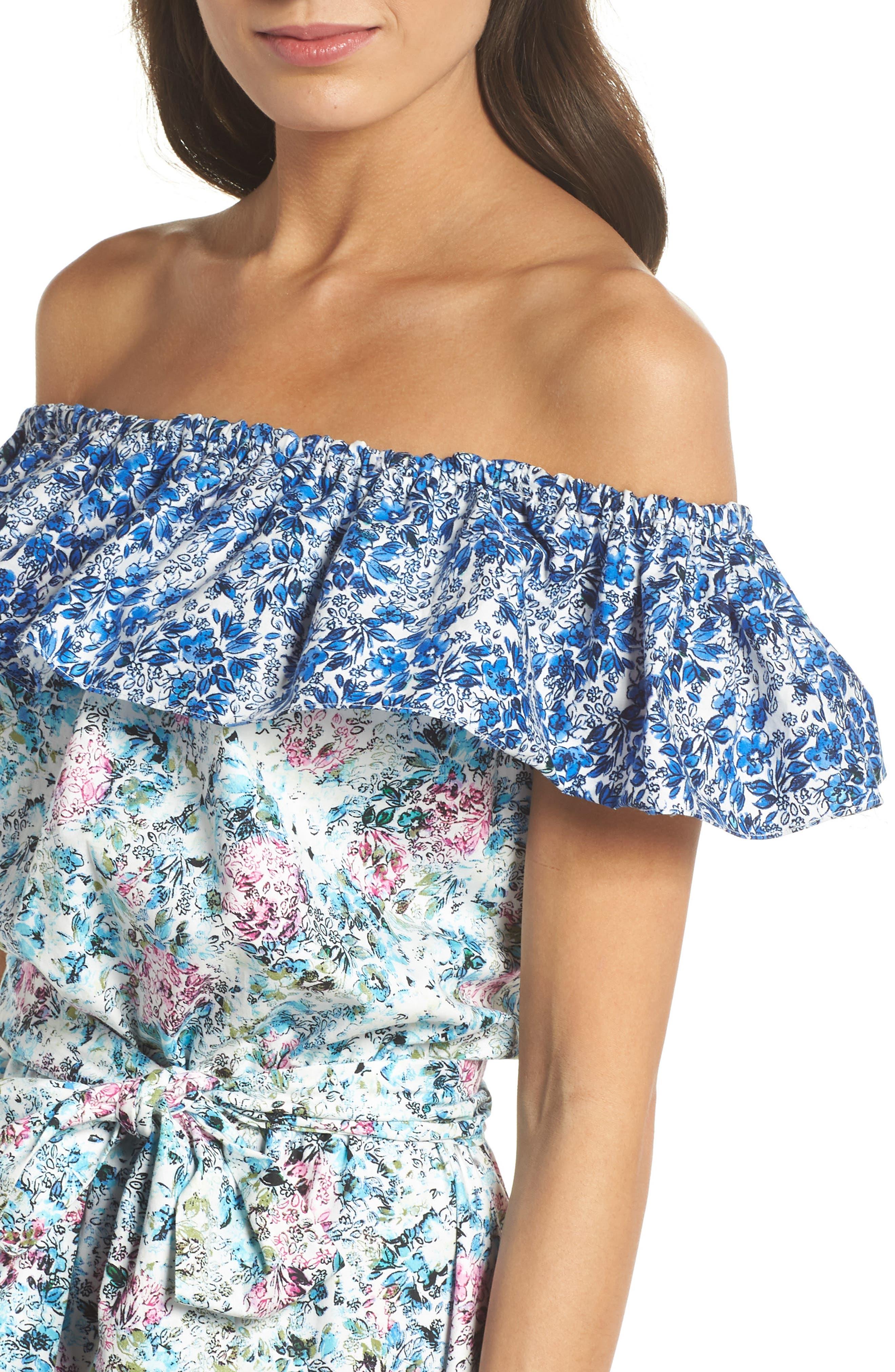 Floral Off the Shoulder Dress,                             Alternate thumbnail 4, color,                             475
