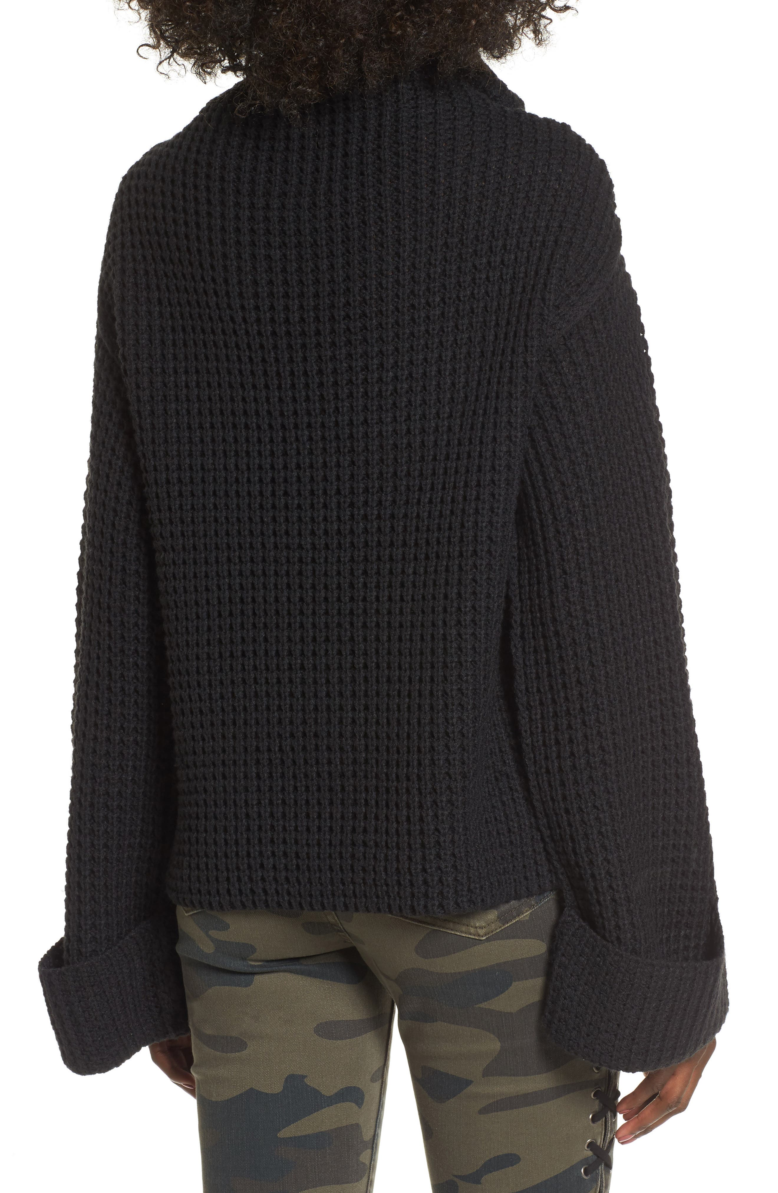 Cowl Neck Thermal Stitch Sweater,                             Alternate thumbnail 2, color,                             001