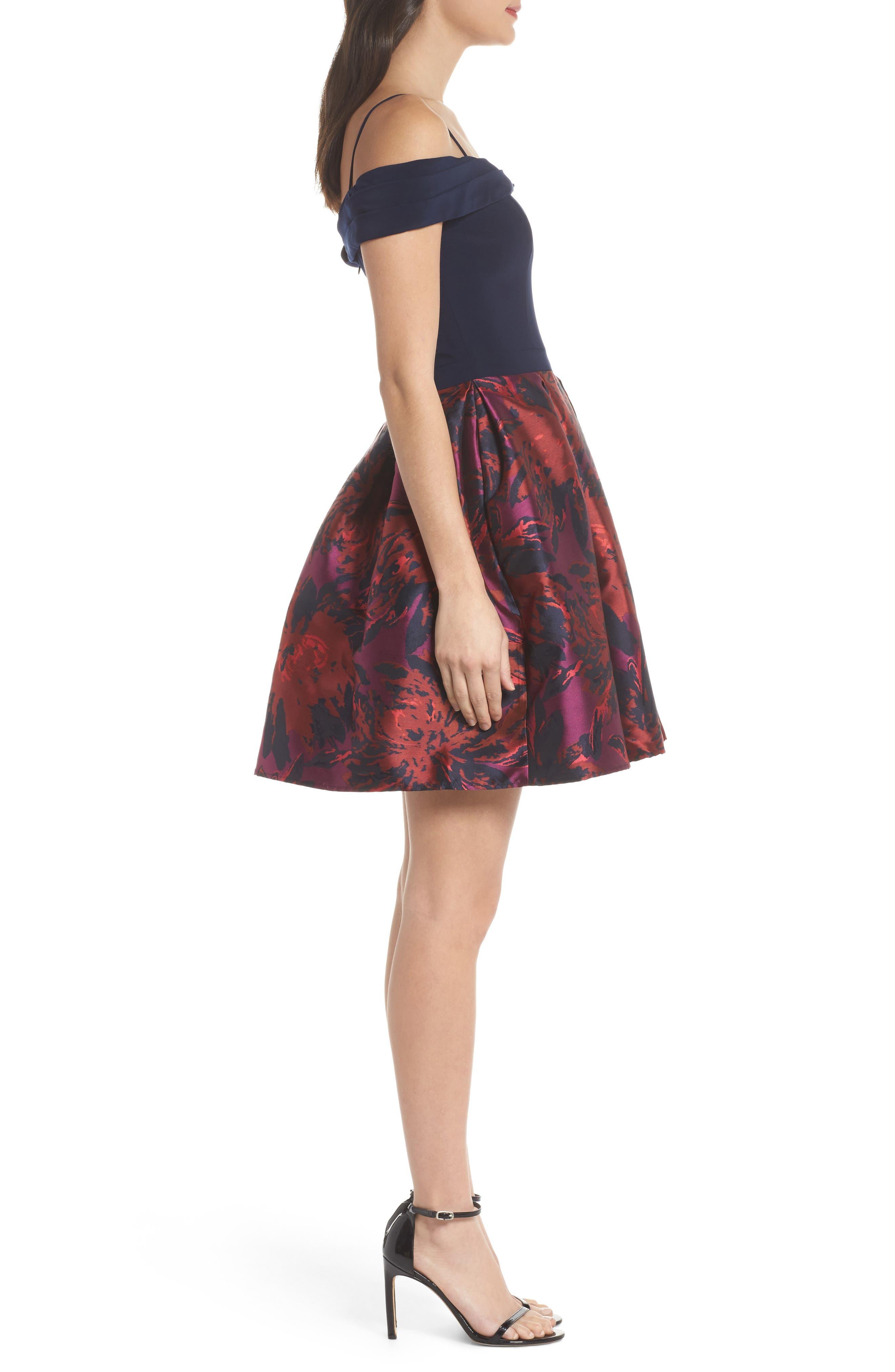 Cold Shoulder Fit & Flare Dress,                             Alternate thumbnail 3, color,                             419