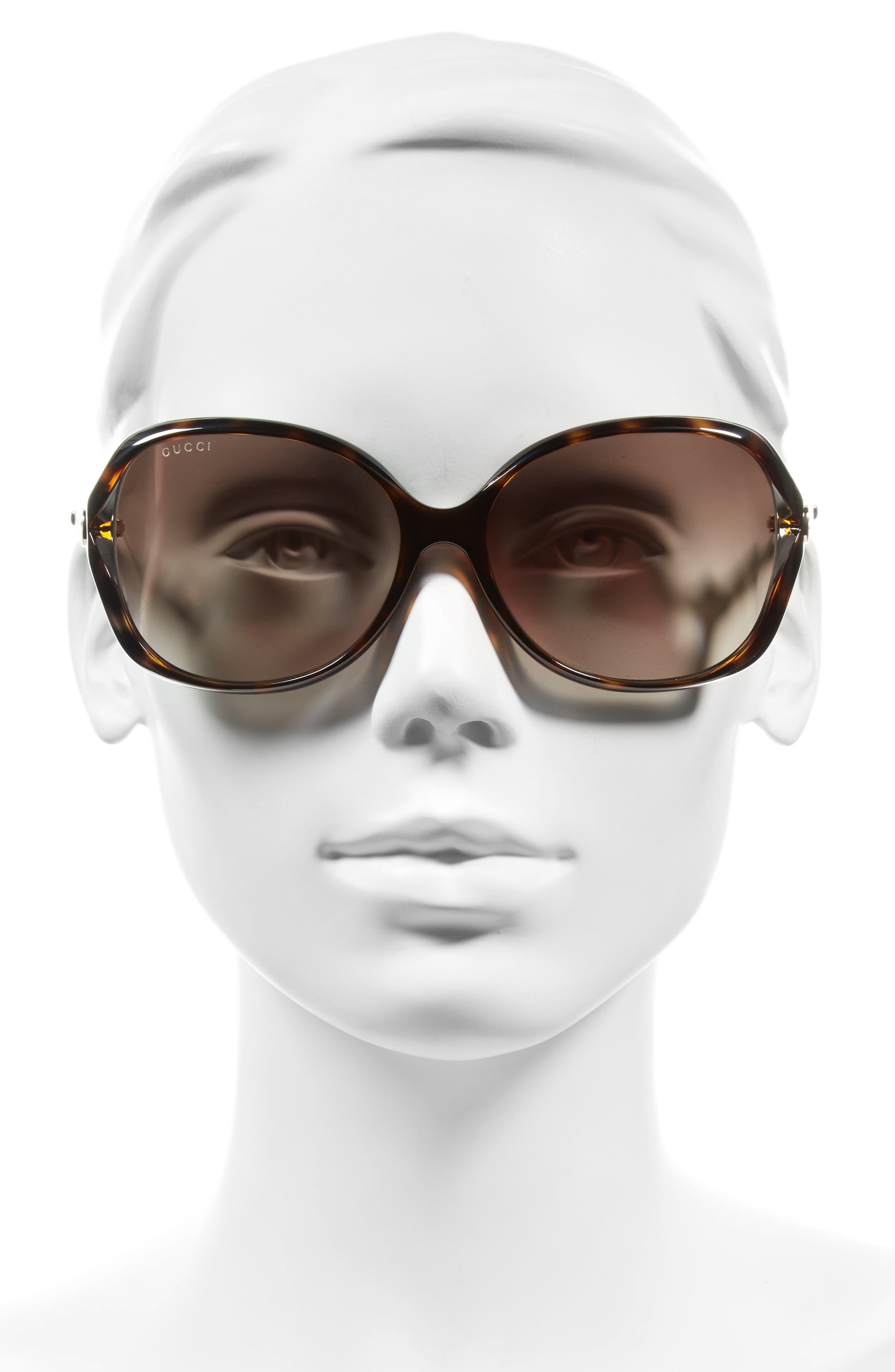 60mm Open Temple Oval Sunglasses,                             Alternate thumbnail 2, color,                             HAVANA/ BROWN
