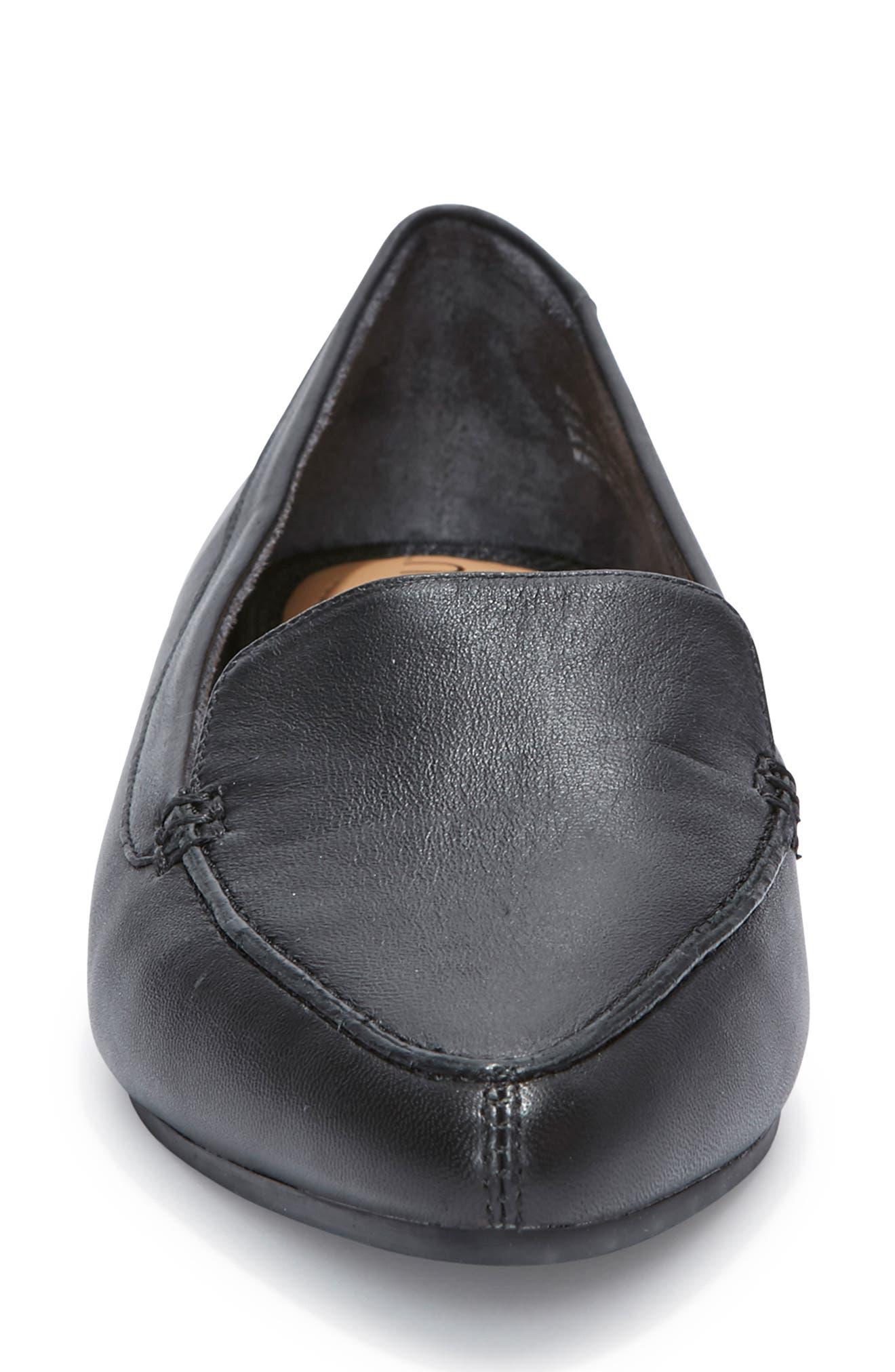 Audra Loafer Flat,                             Alternate thumbnail 4, color,                             BLACK/ BLACK LEATHER