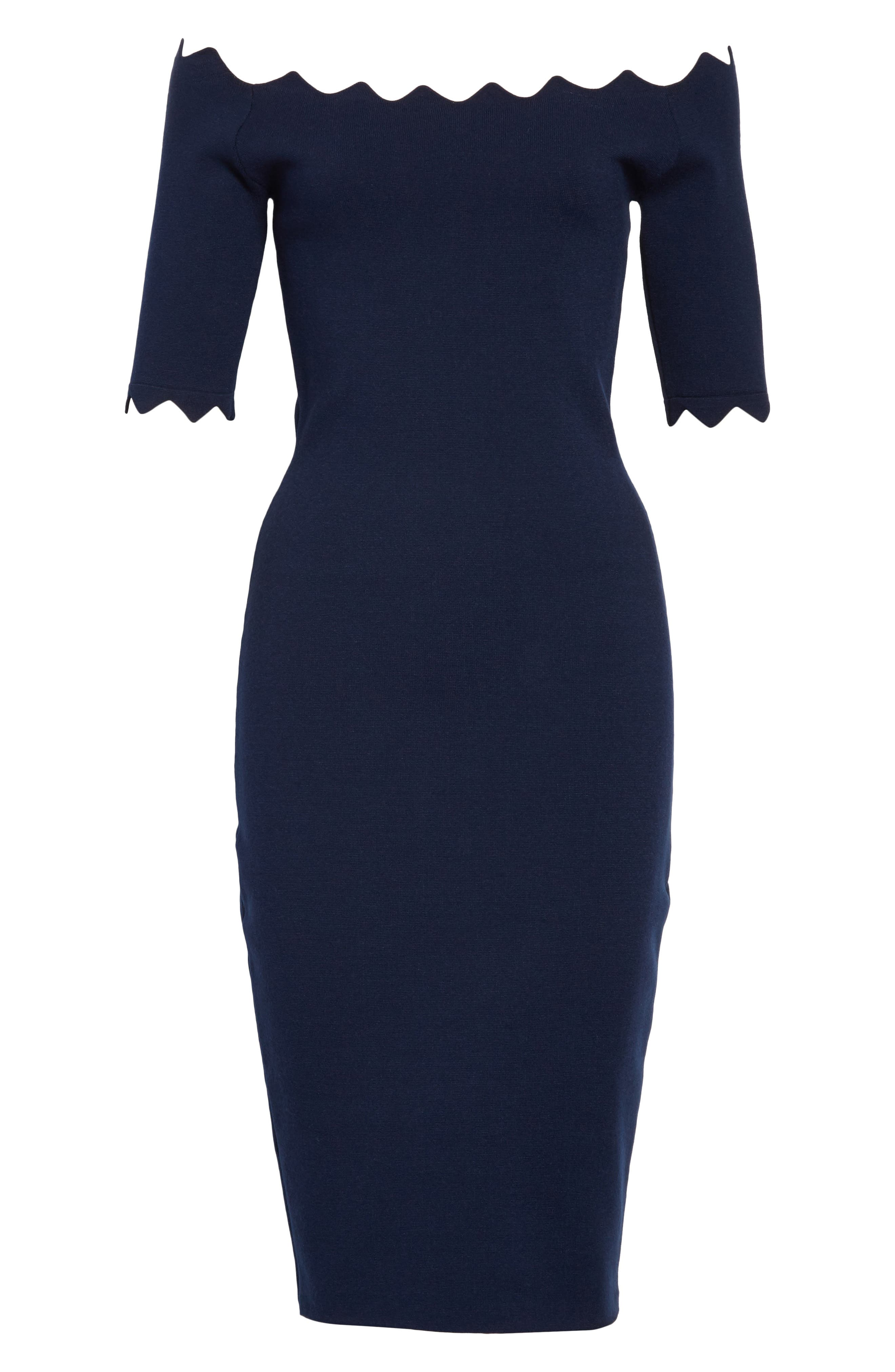 Scalloped Off the Shoulder Sheath Dress,                             Alternate thumbnail 6, color,                             410