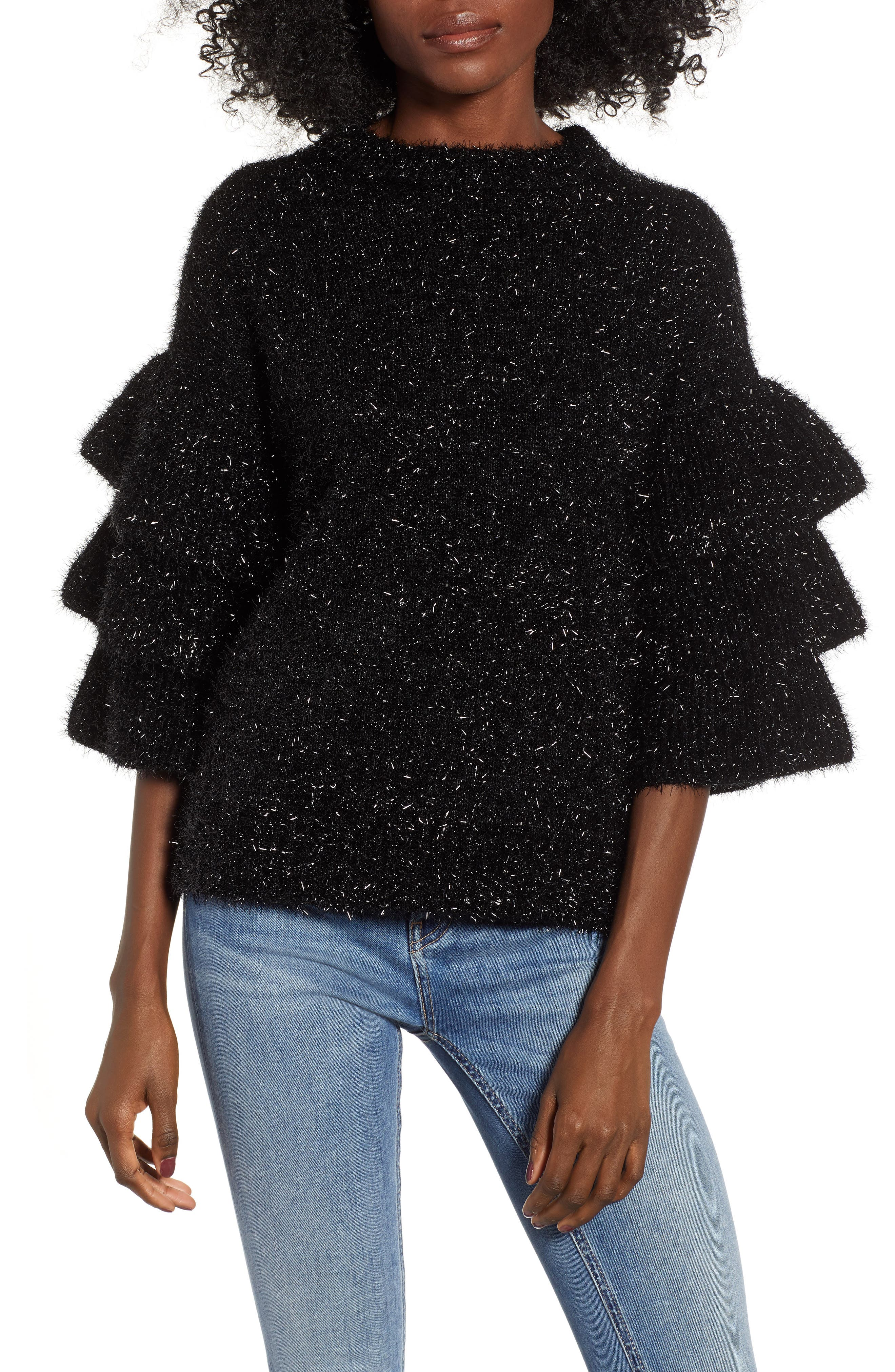 Tiered Sleeve Sweater, Main, color, BLACK