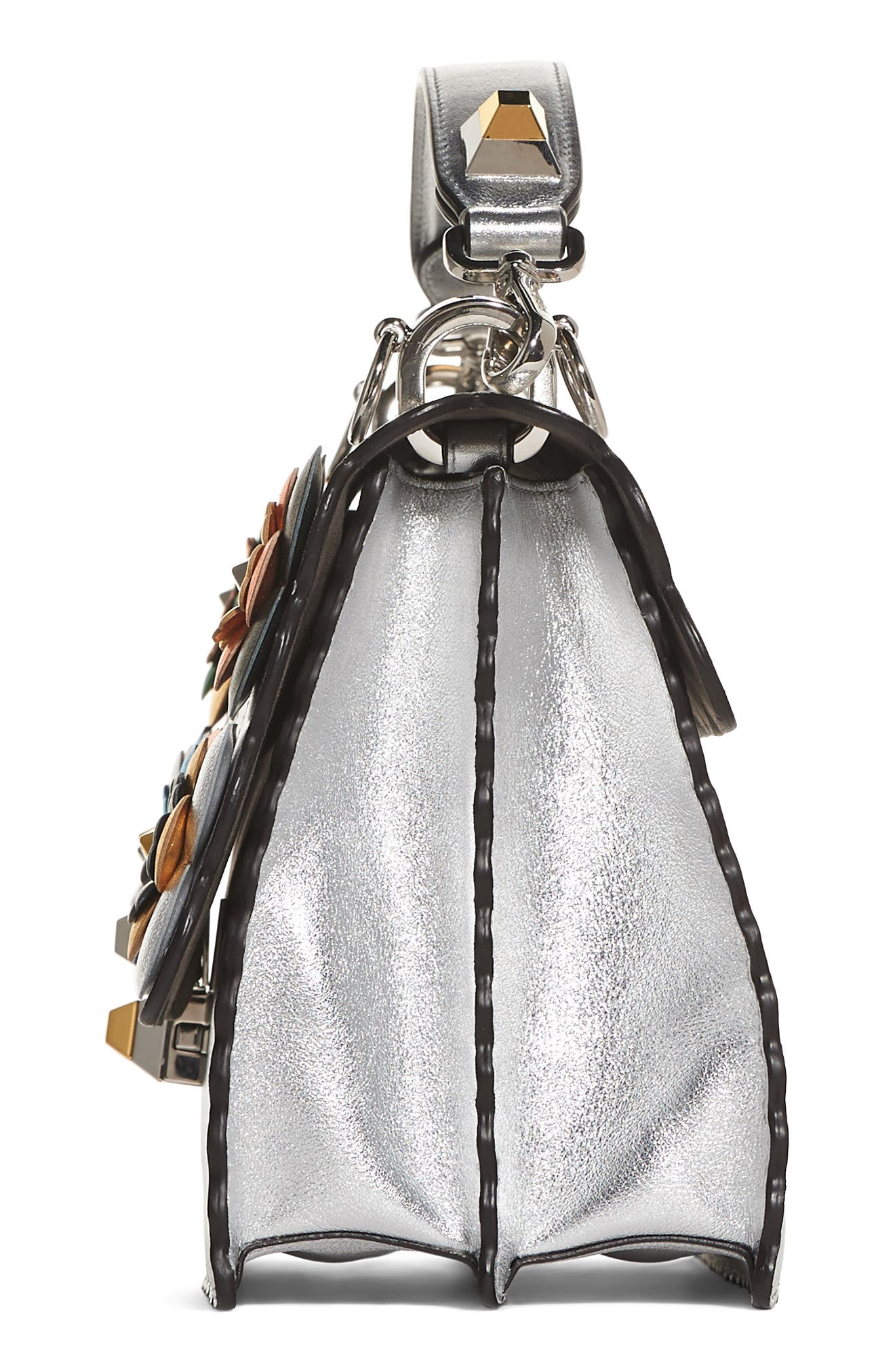 Kan I Leather Shoulder Bag,                             Alternate thumbnail 4, color,                             SILVER GRAPHITE MULTI