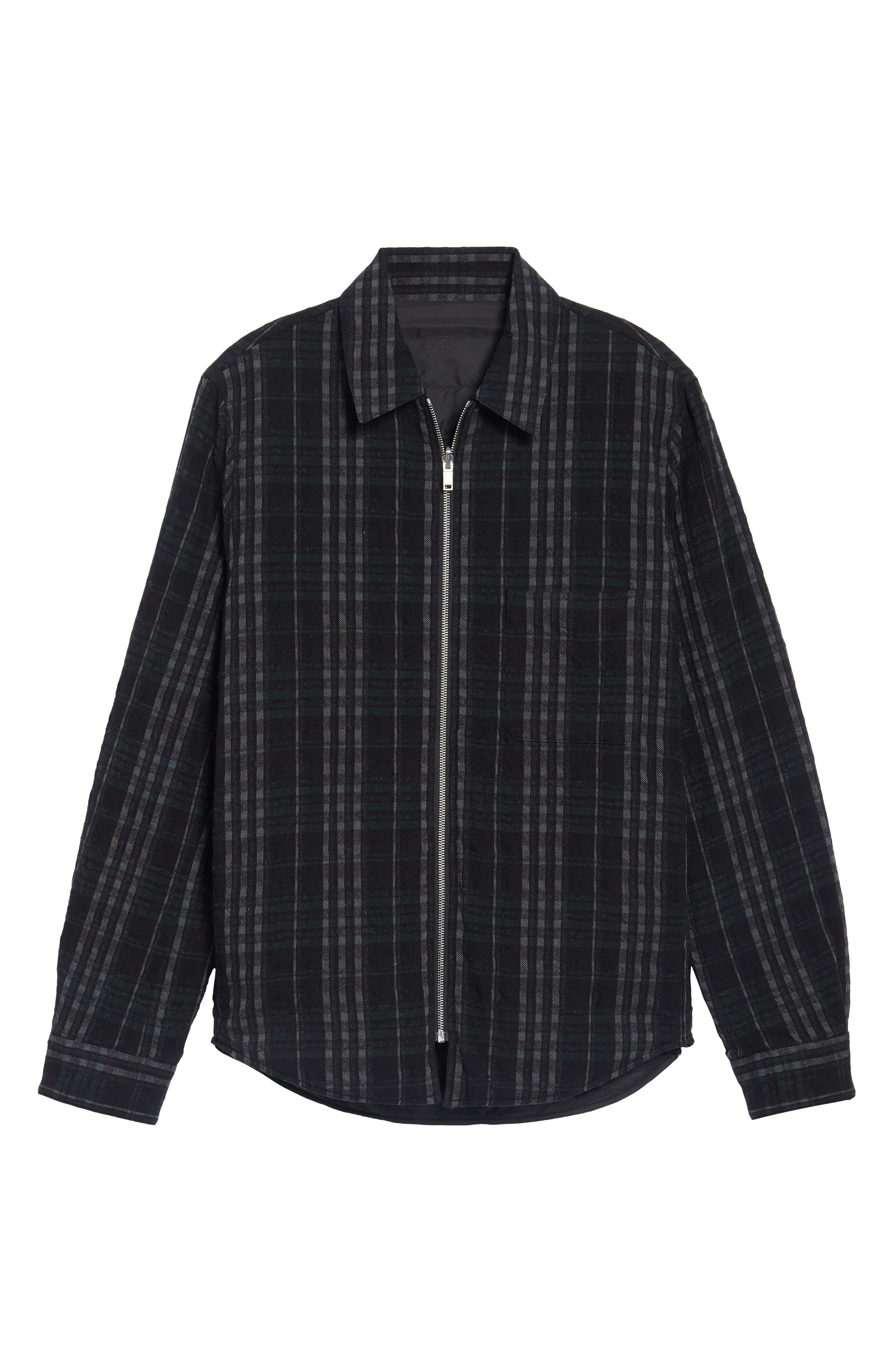 Wooly Reversible Zip Front Shirt Jacket,                             Alternate thumbnail 5, color,                             001
