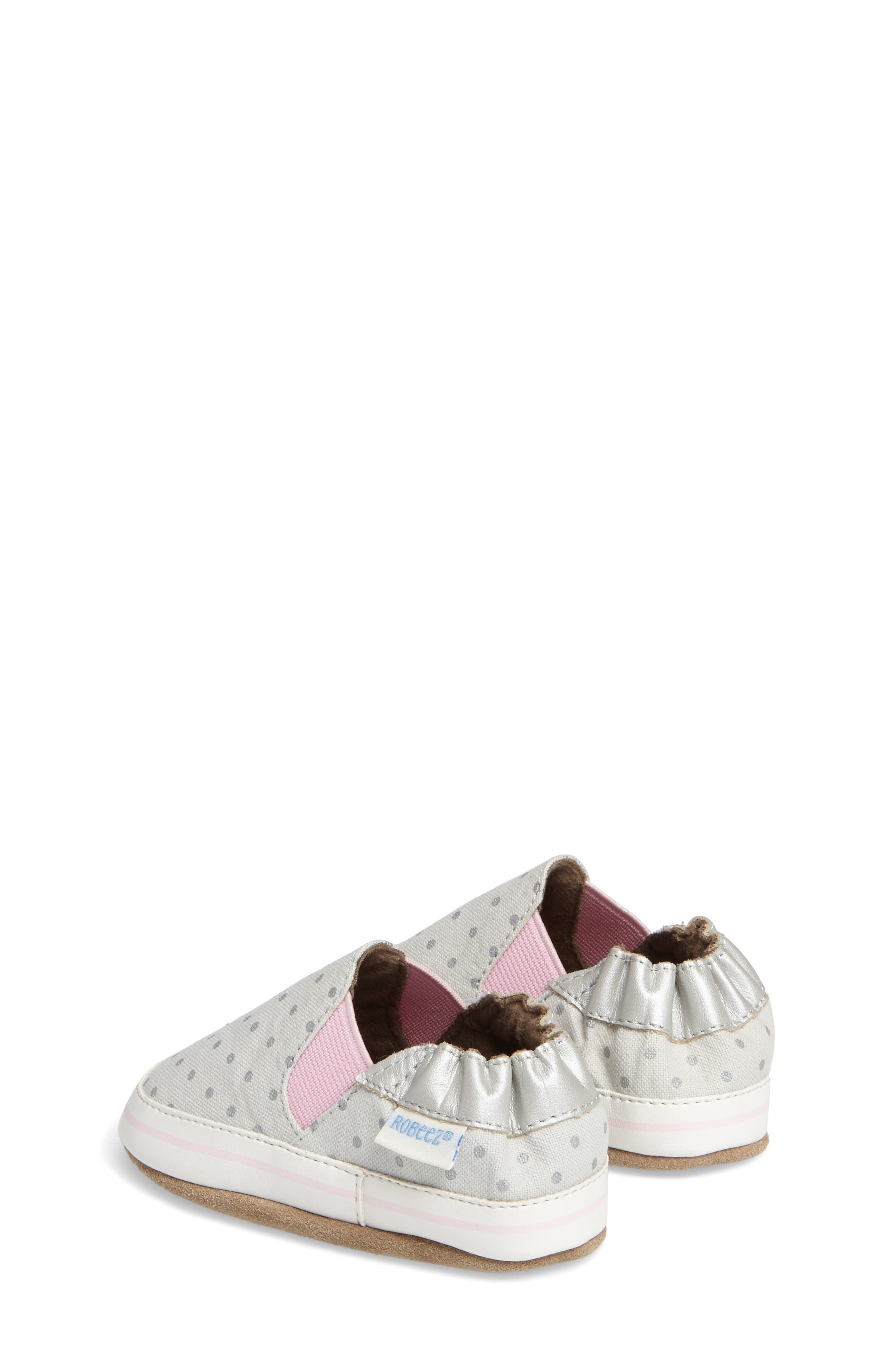 Dot Mania Crib Shoe,                             Alternate thumbnail 2, color,                             METALLIC GREY LEATHER
