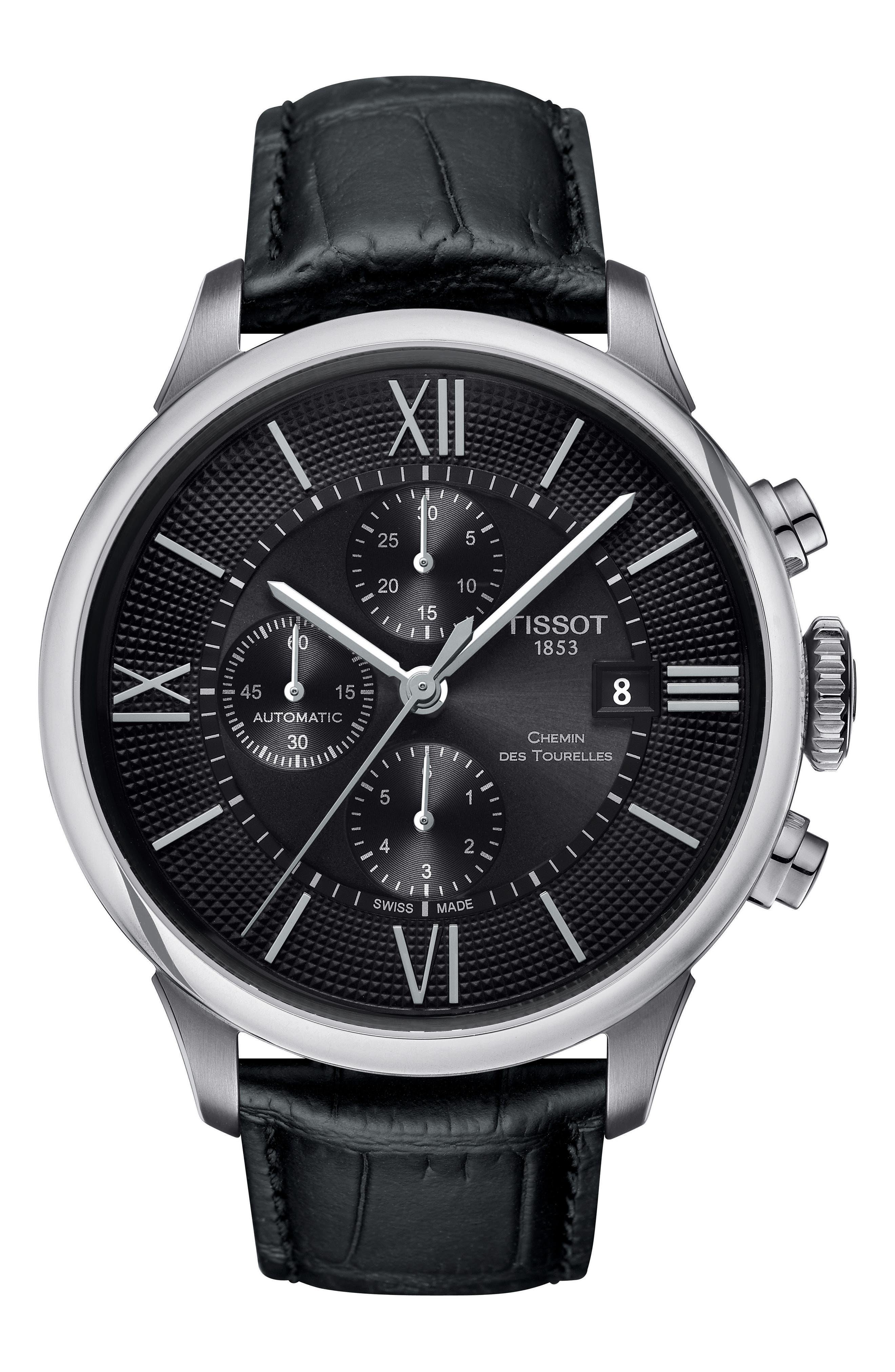 Chemin Des Tourelles Automatic Chronograph Leather Strap Watch, 44mm,                         Main,                         color, BLACK/ SILVER