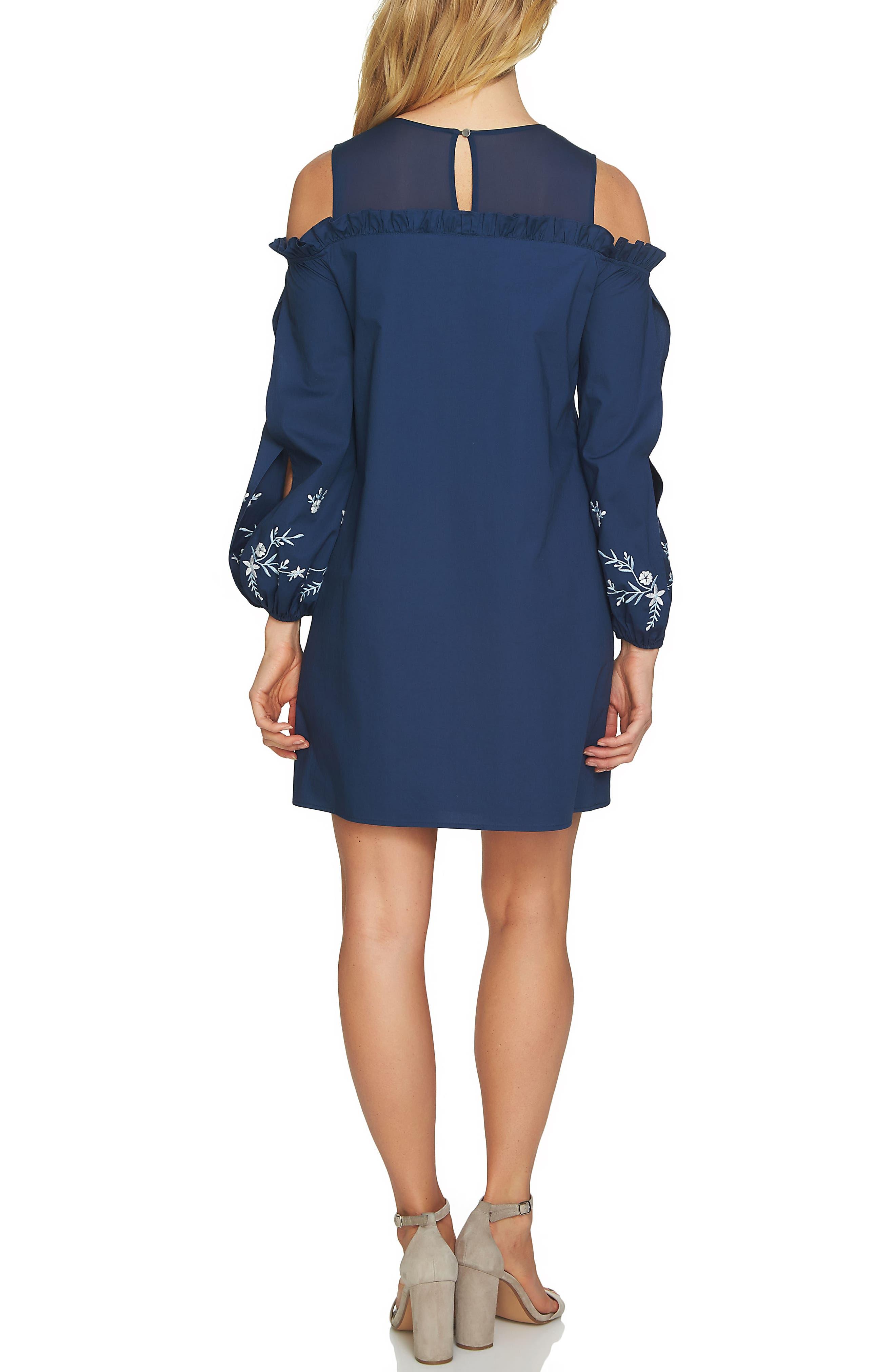 Cold Shoulder Embroidered Shift Dress,                             Alternate thumbnail 2, color,                             429
