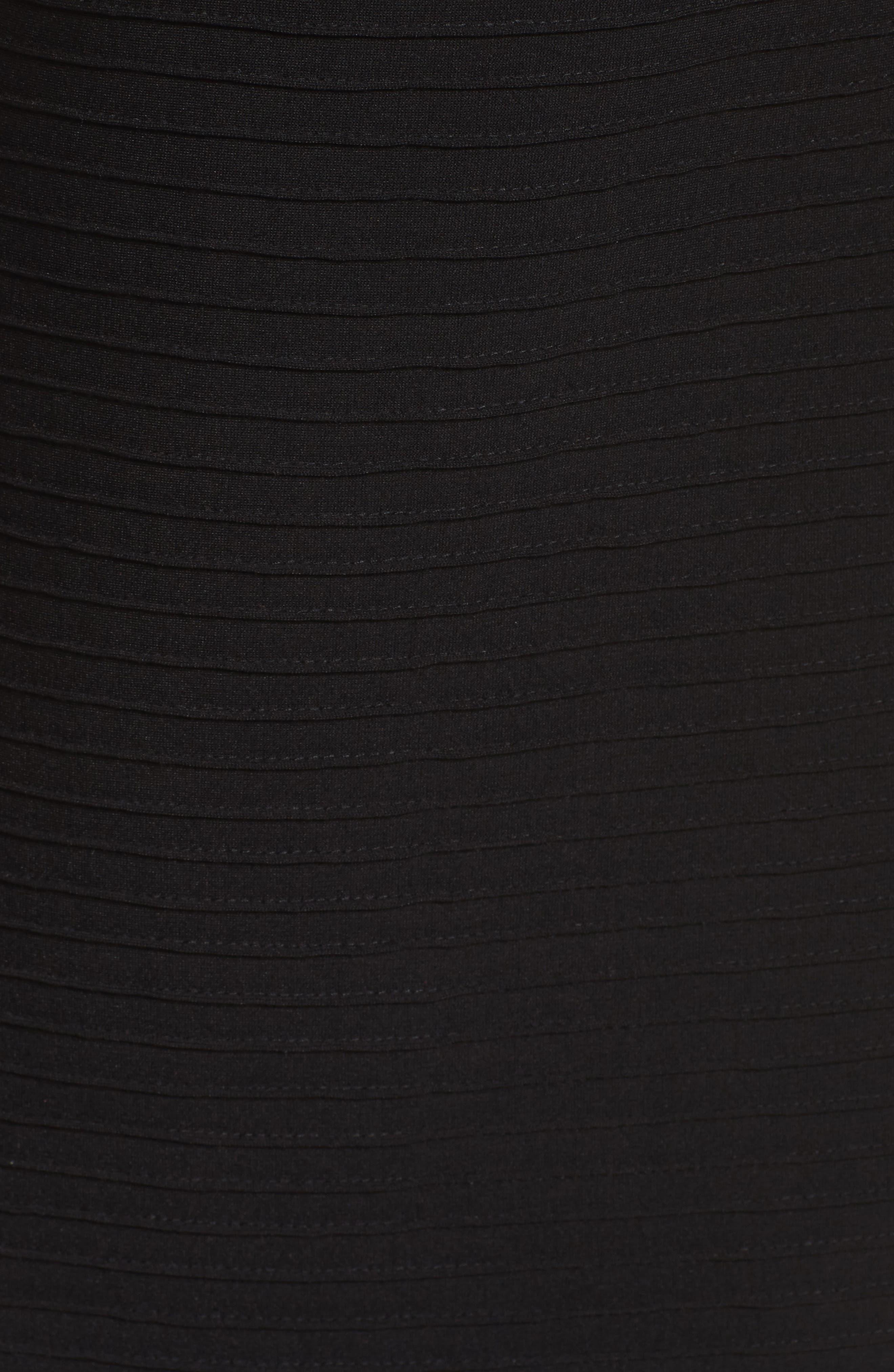Pintuck One-Shoulder Dress,                             Alternate thumbnail 5, color,                             001