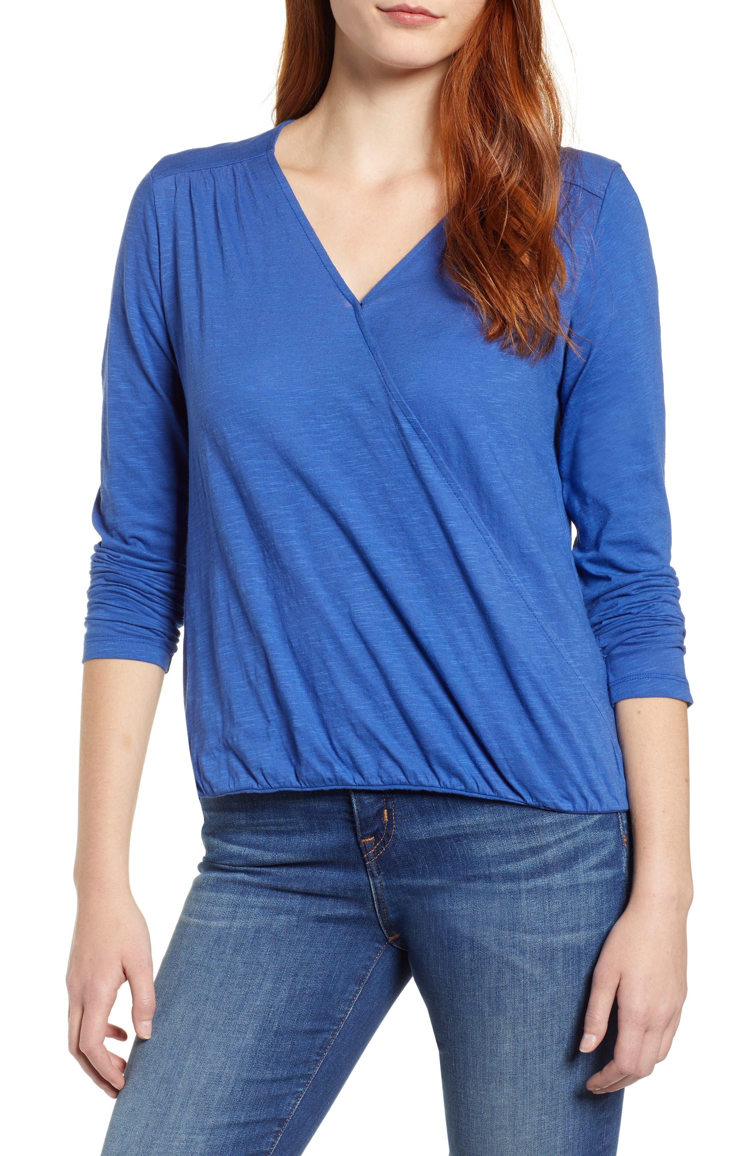 CASLON<SUP>®</SUP> Faux Wrap Top, Main, color, BLUE MAZARINE