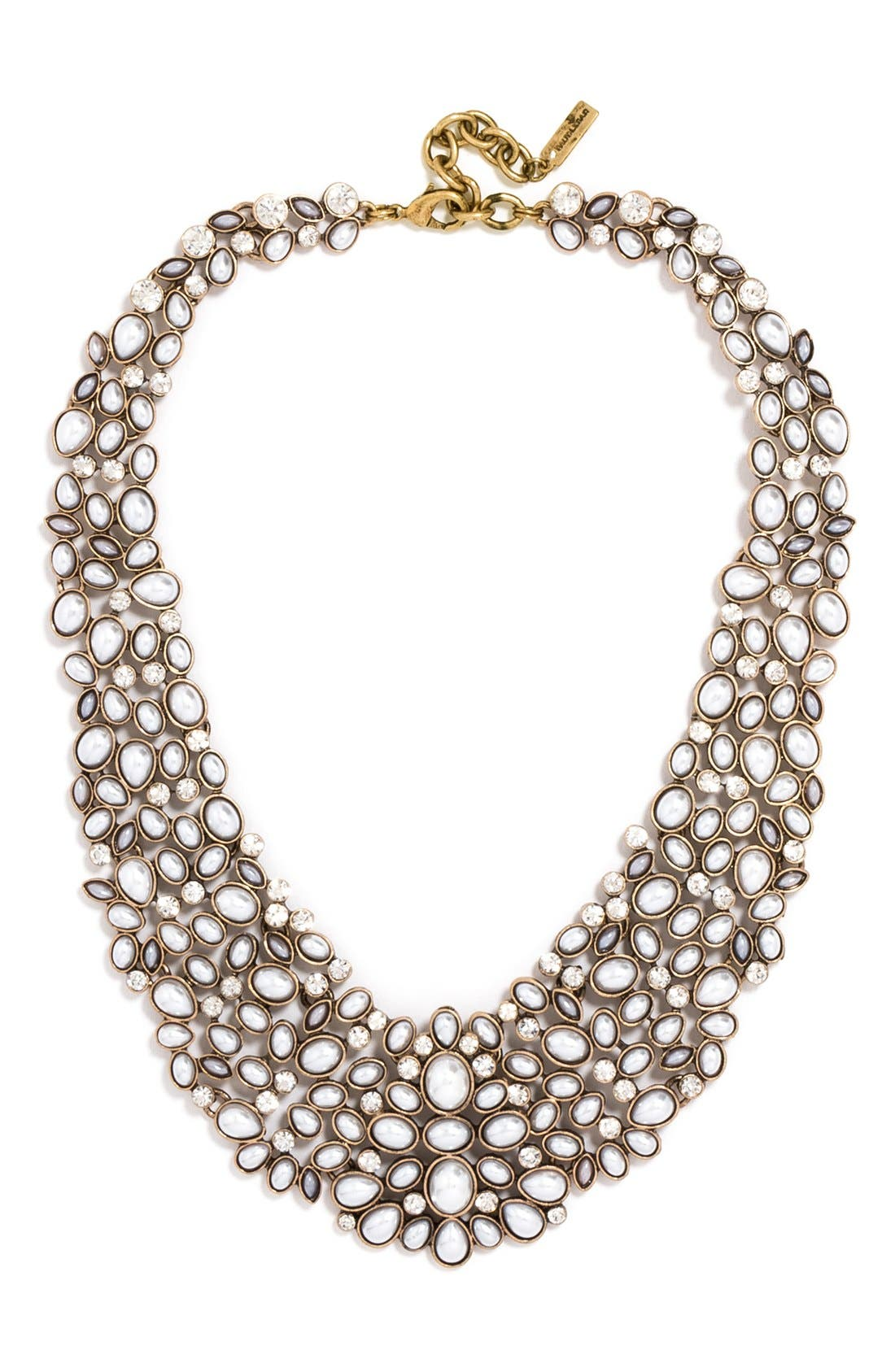 'Kew' Crystal Collar Necklace,                             Main thumbnail 1, color,                             PEARL/ GOLD