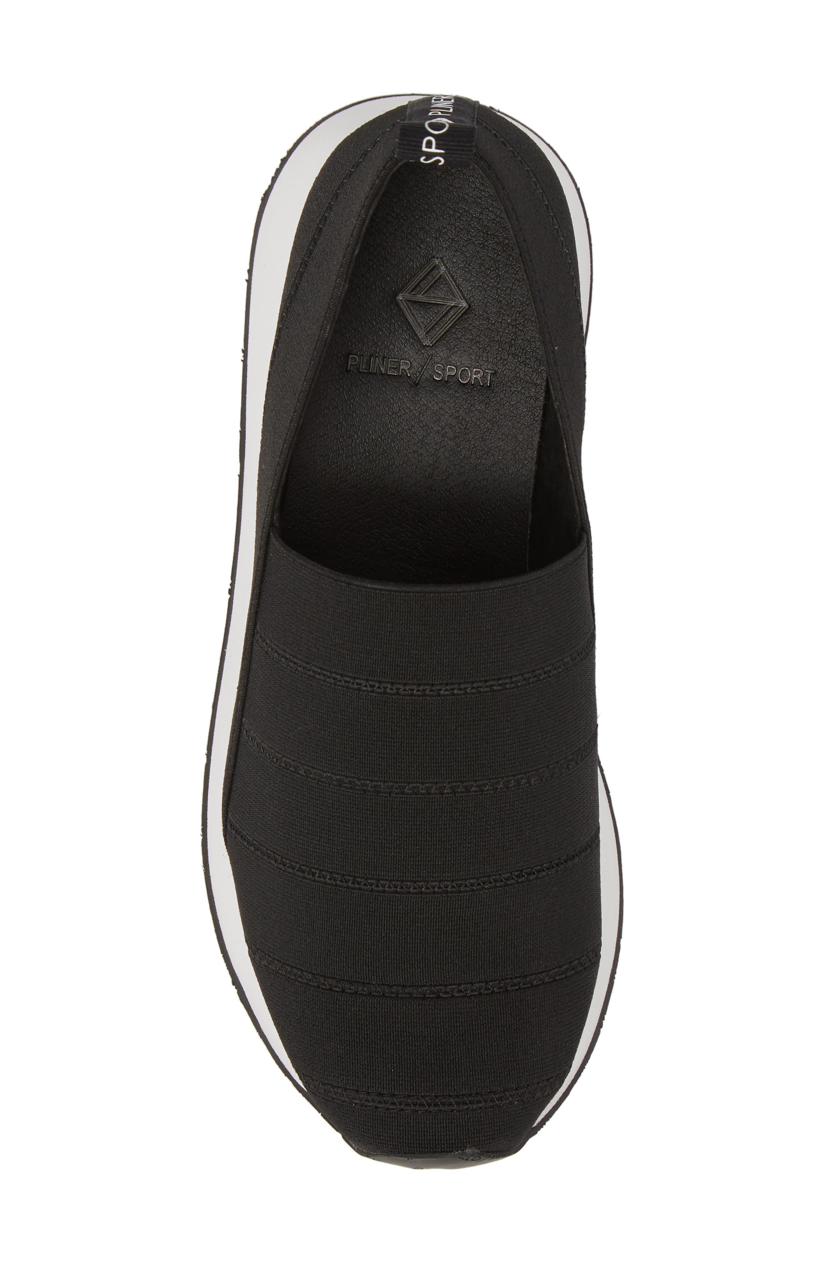 Piper Platform Slip-On Sneaker,                             Alternate thumbnail 5, color,                             BLACK STRETCH FABRIC