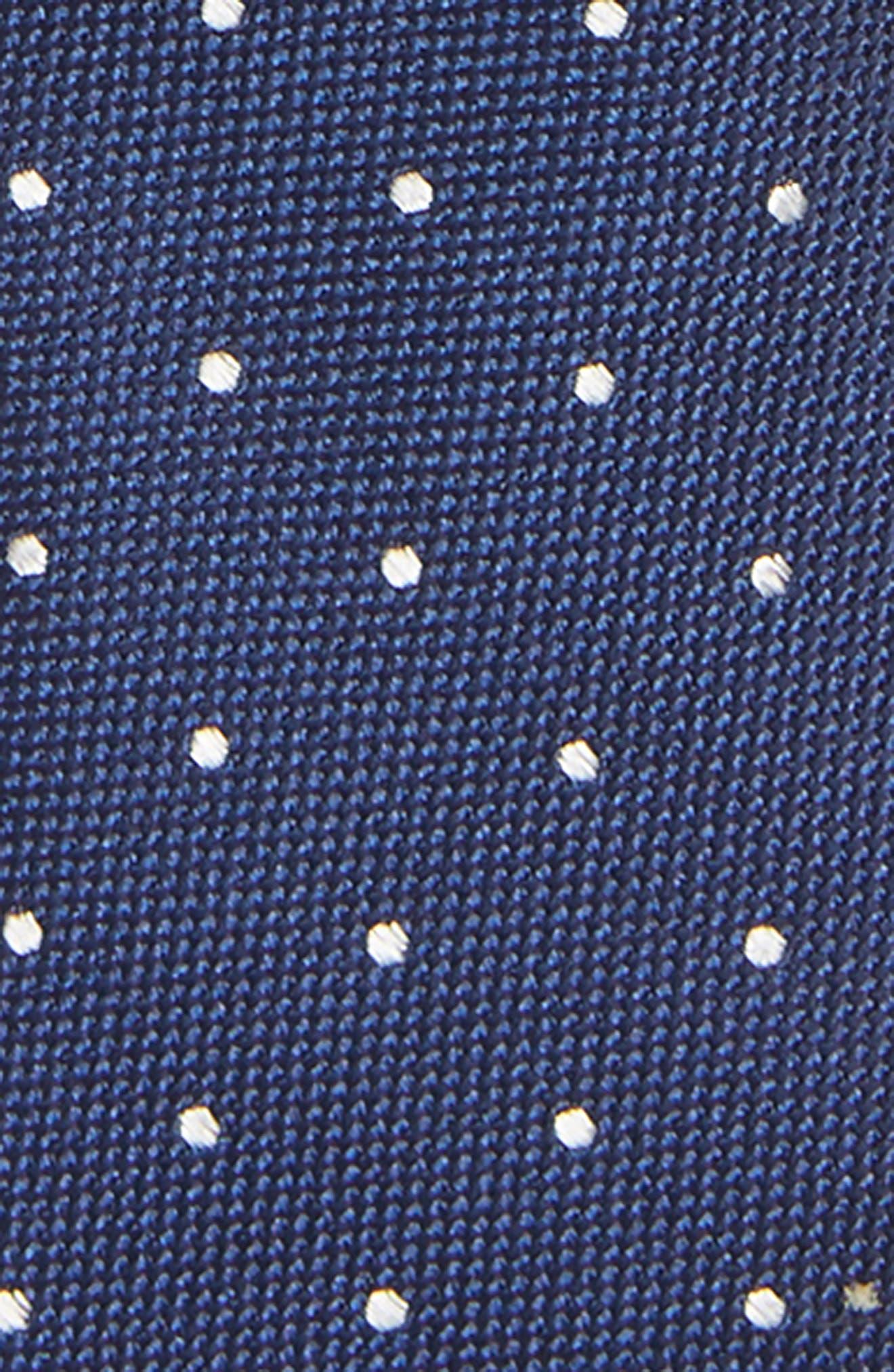 Dot Silk Zip Tie,                             Alternate thumbnail 2, color,                             NAVY