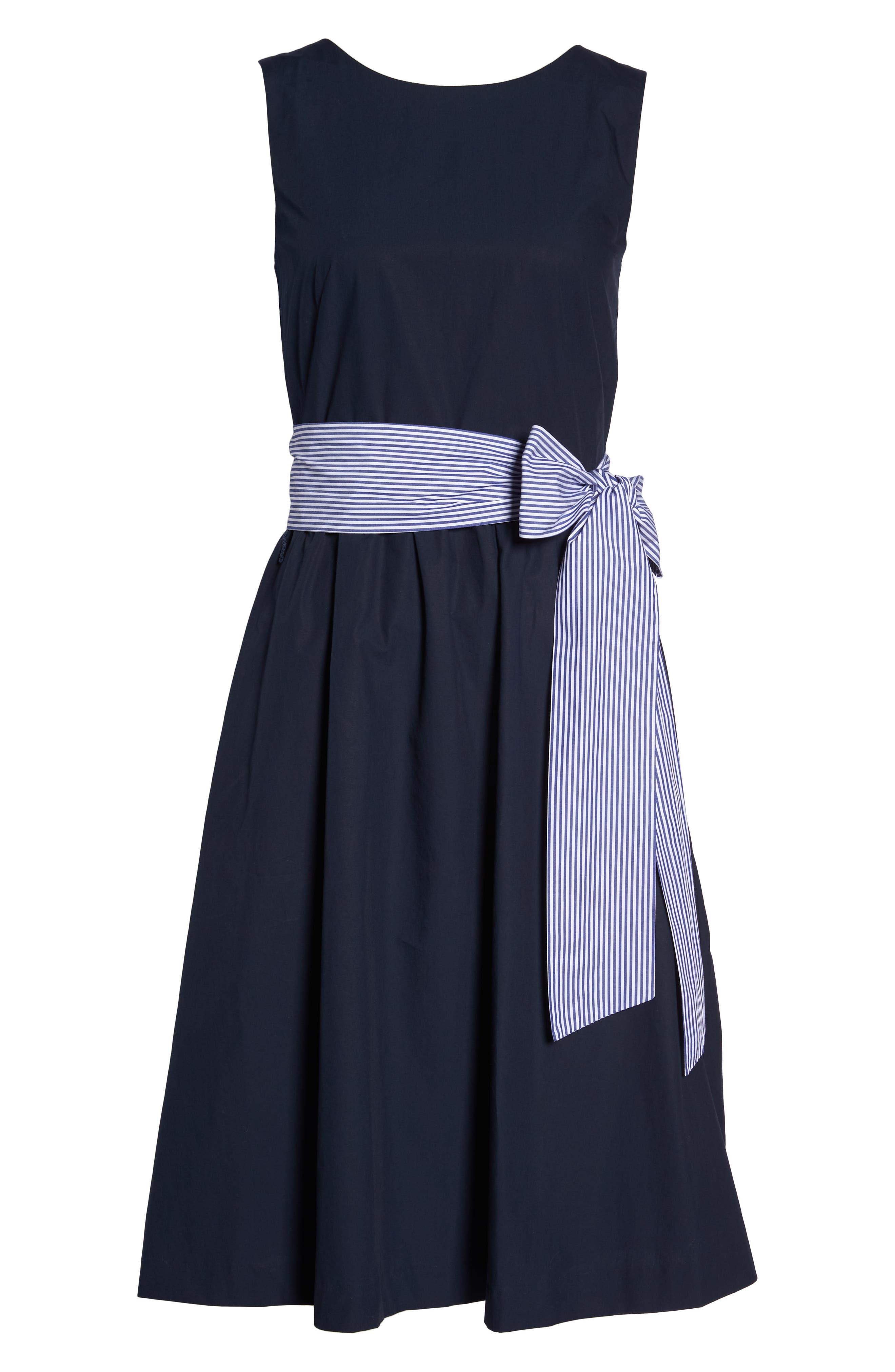Two-Tone Tie Waist Sheath Dress,                             Alternate thumbnail 7, color,                             401