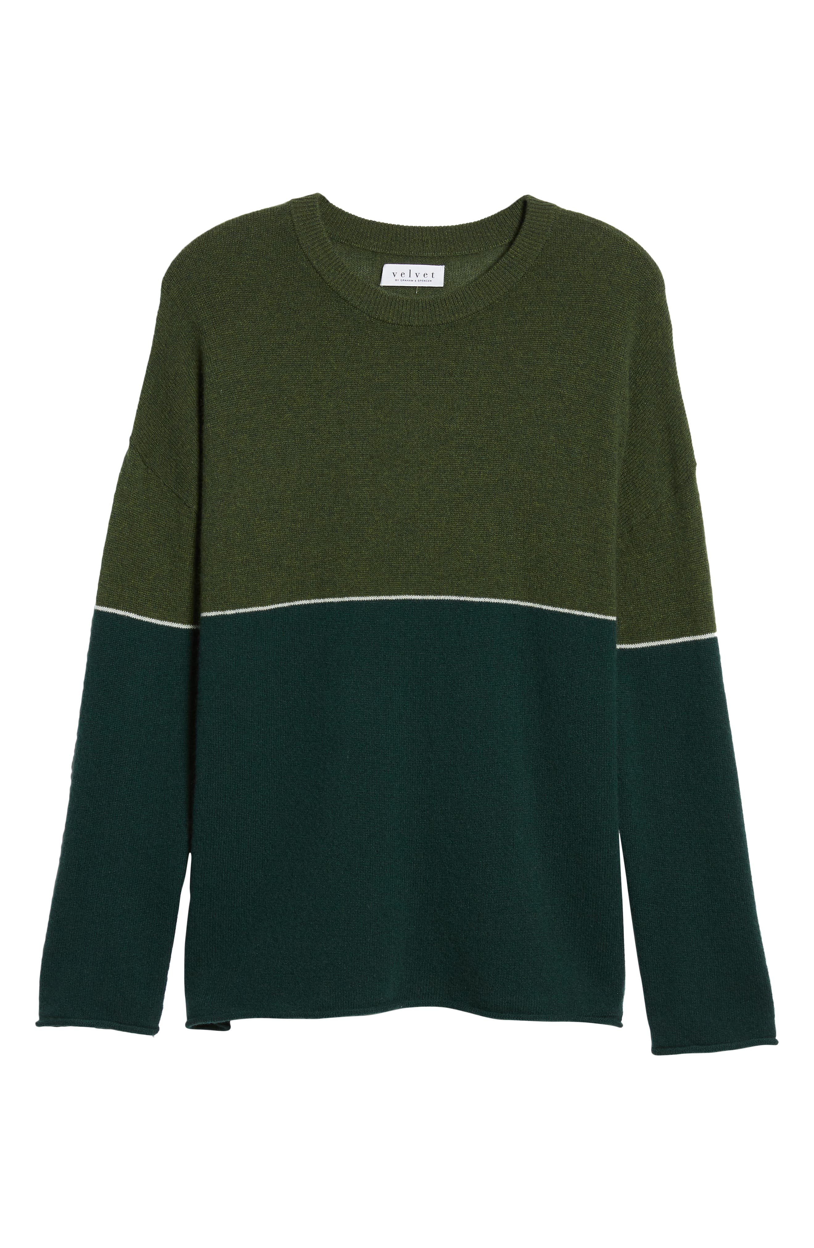 Cashmere Colorblock Sweater,                             Alternate thumbnail 6, color,                             FOREST/ ARMY