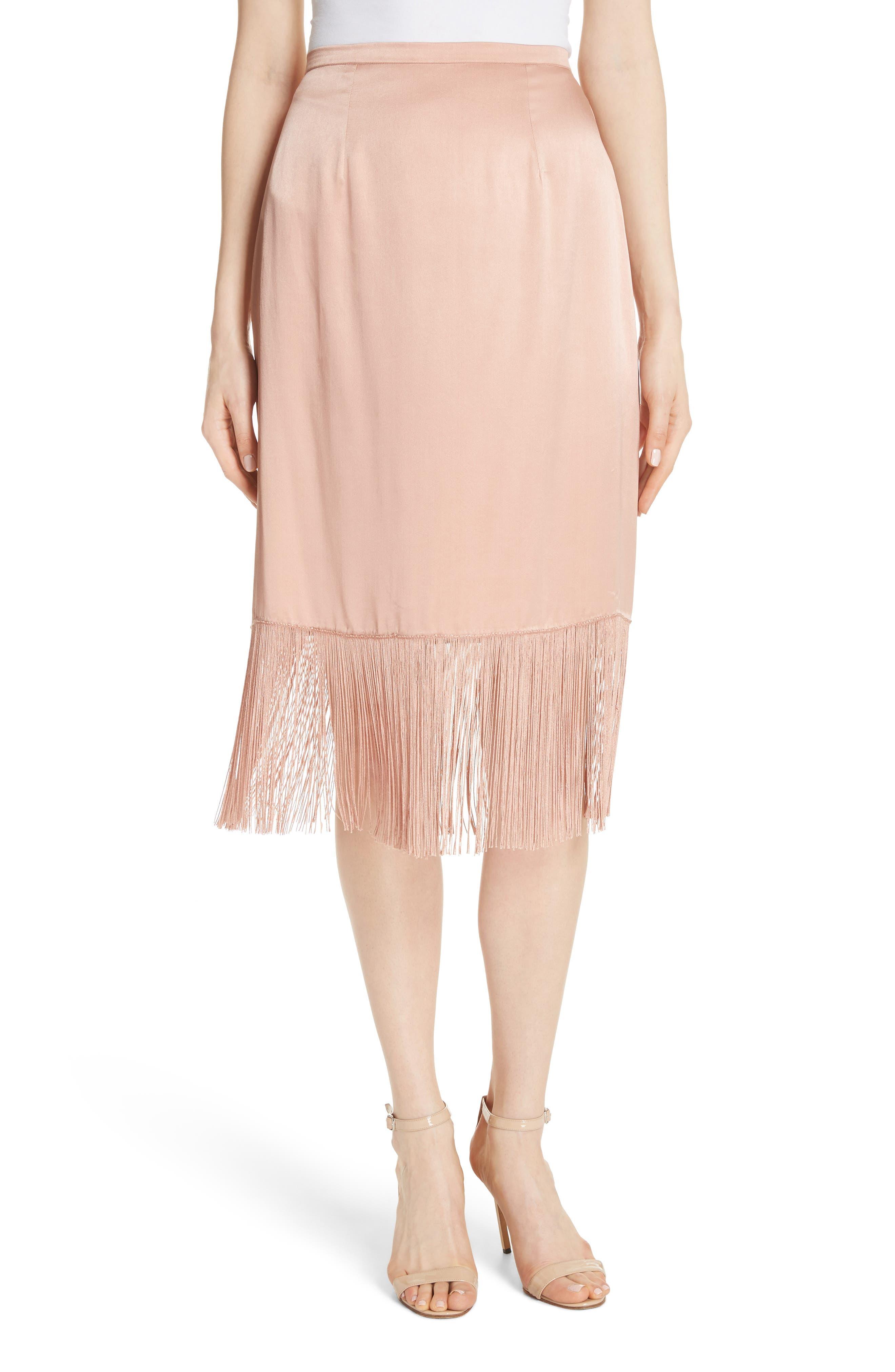 Fringe Silk Skirt,                         Main,                         color, 657