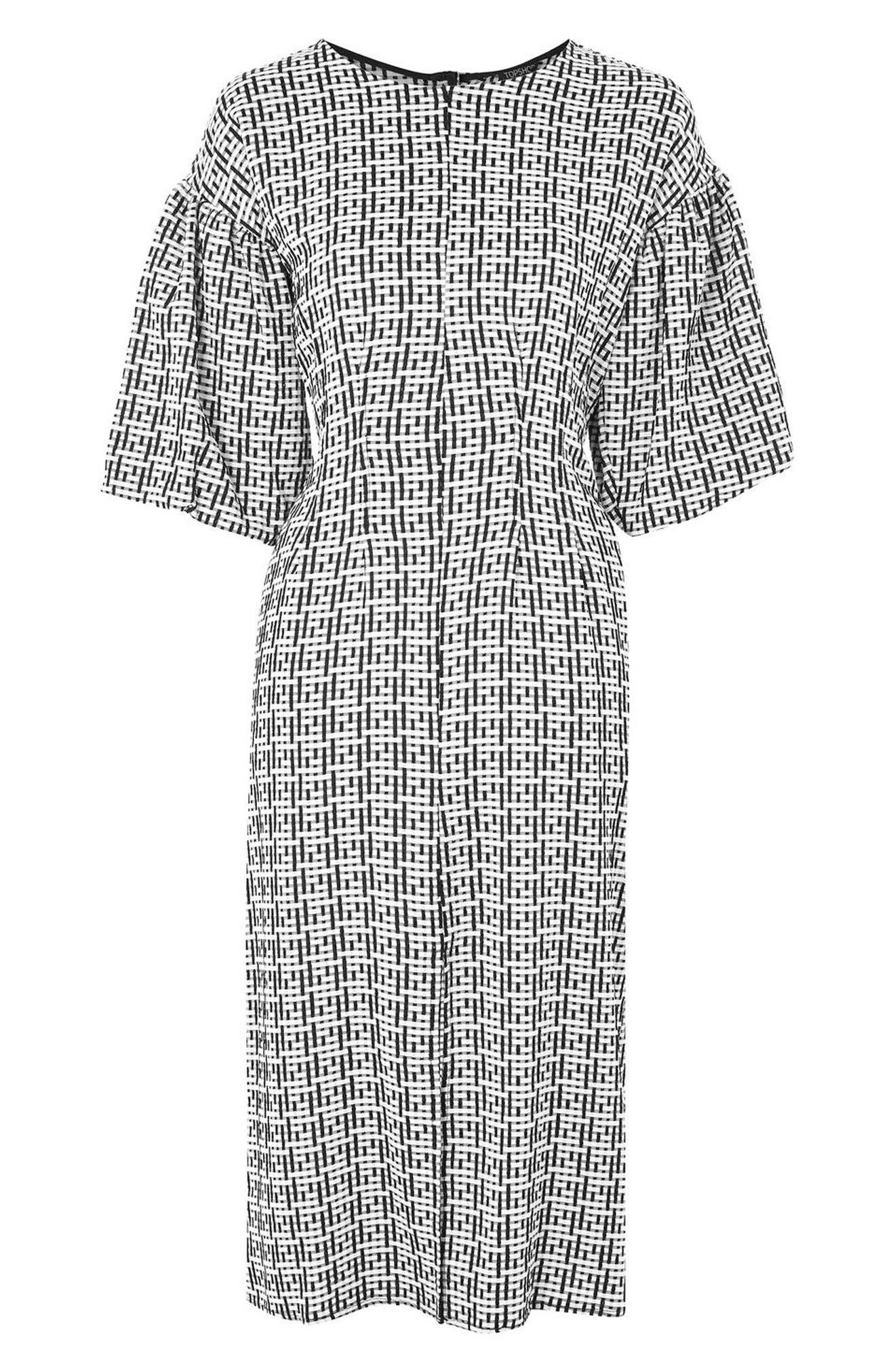 Puff Sleeve Sheath Dress,                             Alternate thumbnail 4, color,                             001