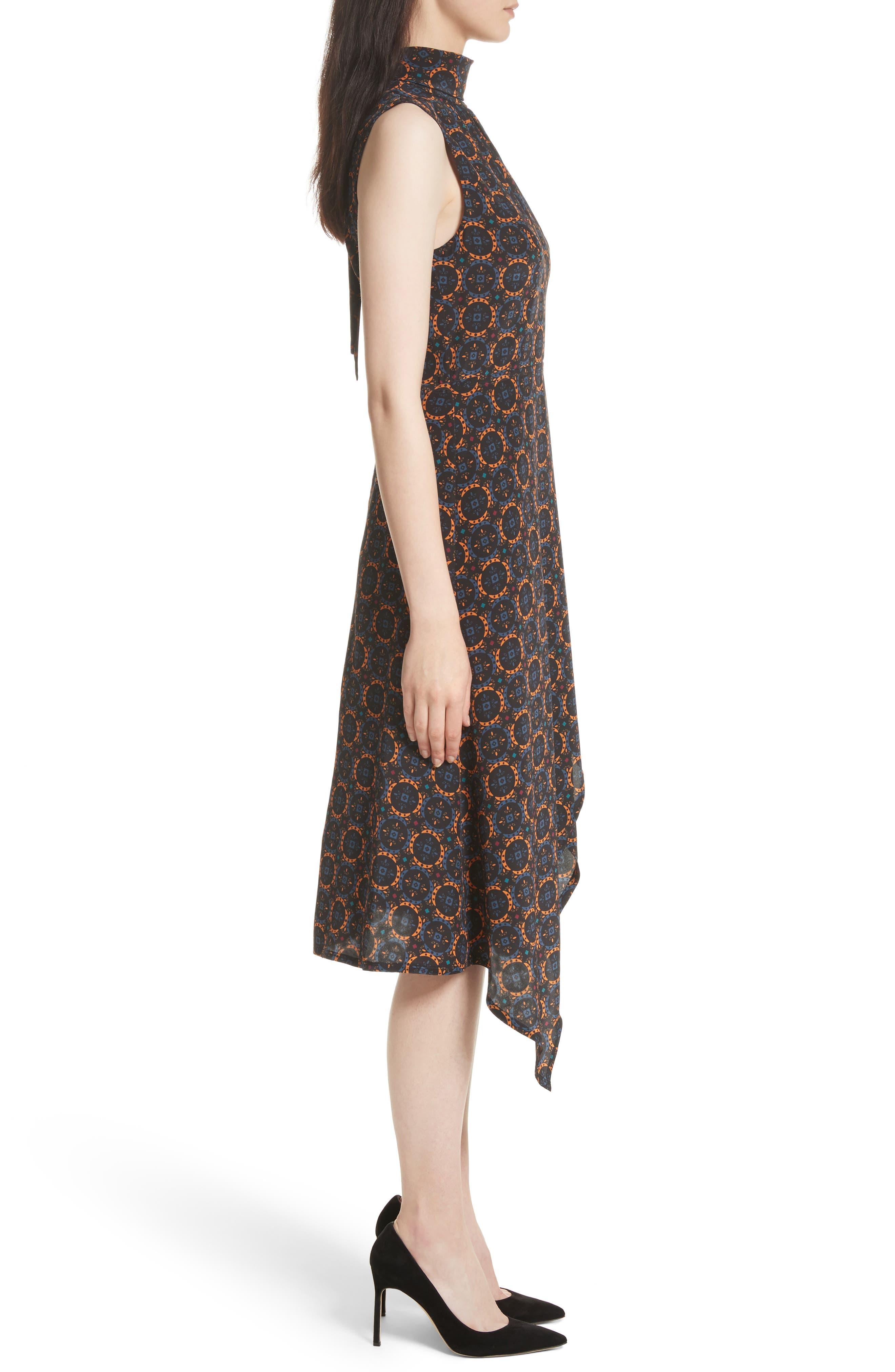 Kerchief A-Line Silk Dress,                             Alternate thumbnail 3, color,                             436