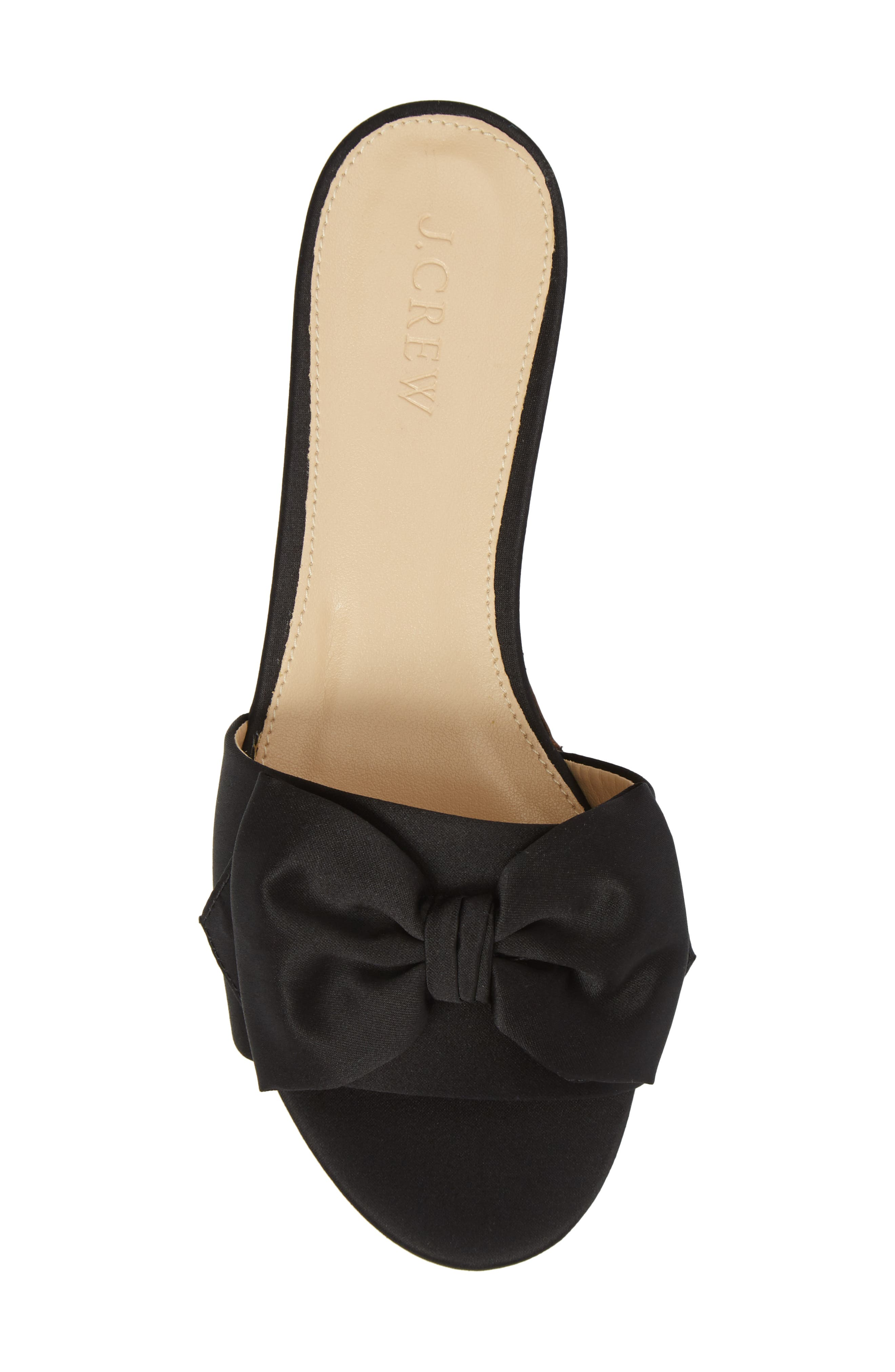 Knotted Satin Bow Slide,                             Alternate thumbnail 5, color,                             001