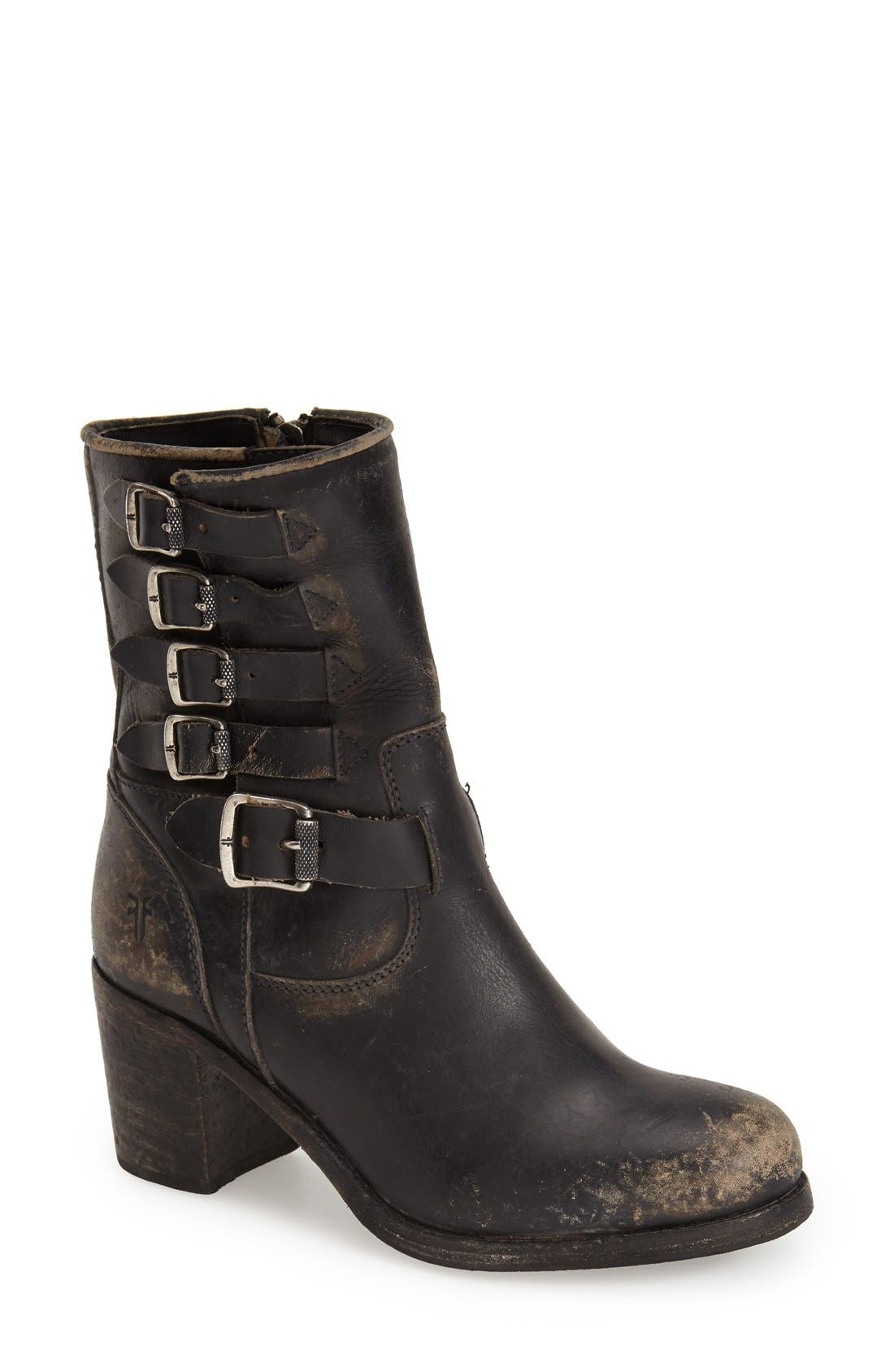 'Kelly' Belted Short Boot,                             Main thumbnail 1, color,                             001