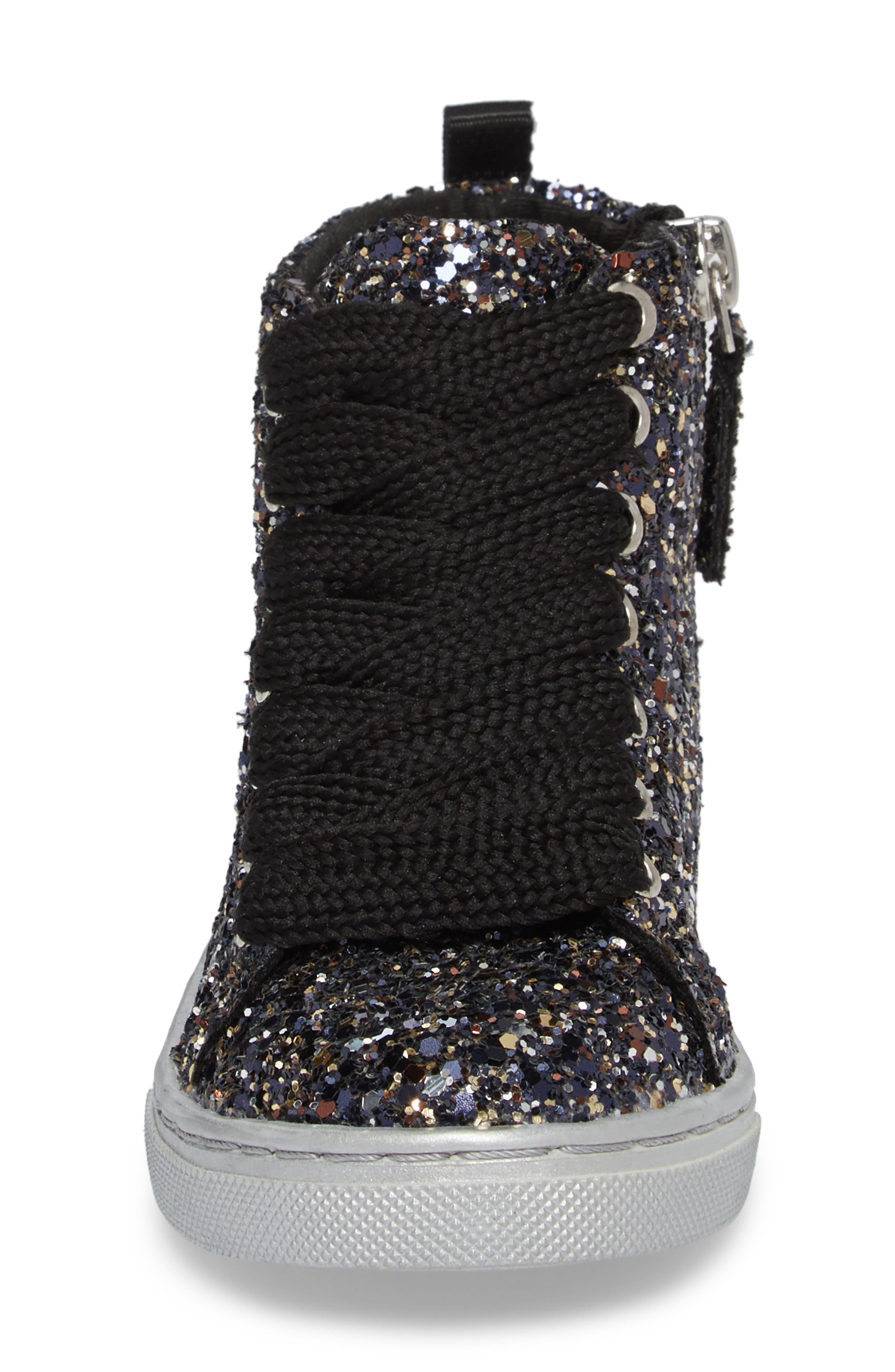 Zaine Glittery High Top Sneaker,                             Alternate thumbnail 4, color,                             001